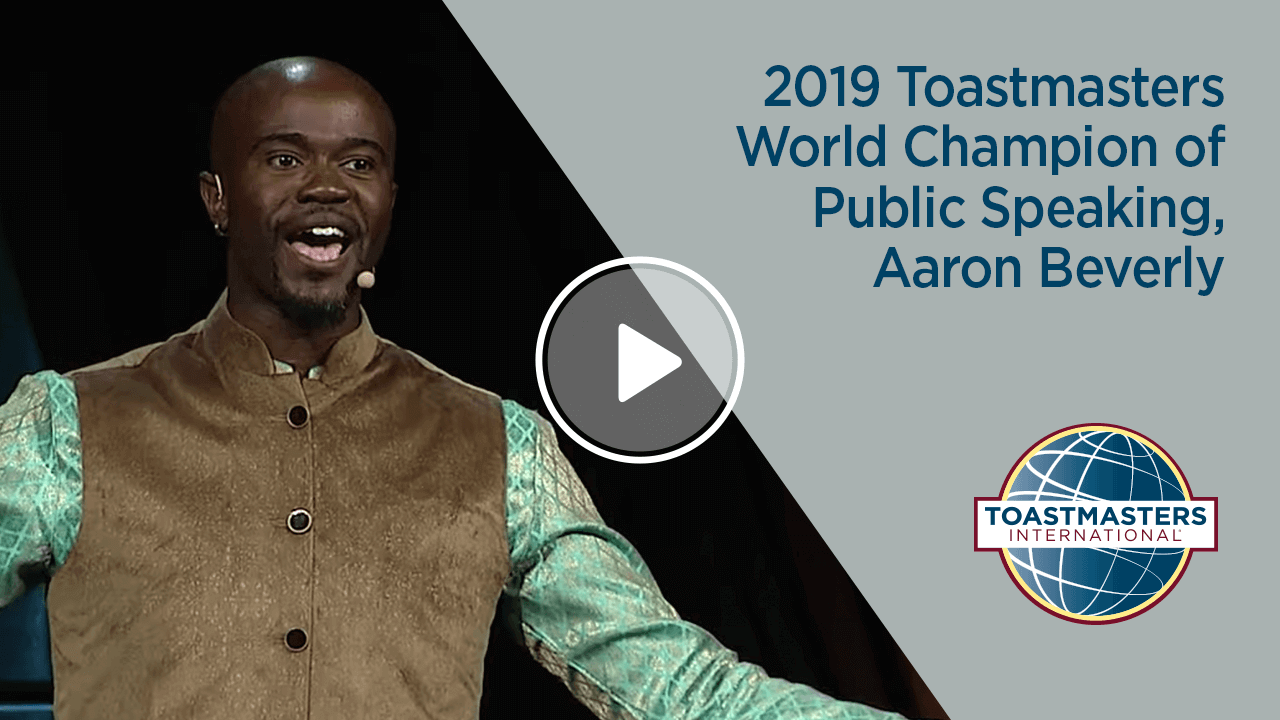 2019 Toastmasters World Champion of Public Speaking, Aaron Beverly