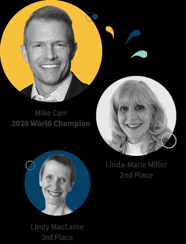 Headshots of World Championship of Public Speaking Winners