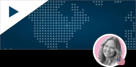 Angela Barrus Headshot on World Map Background