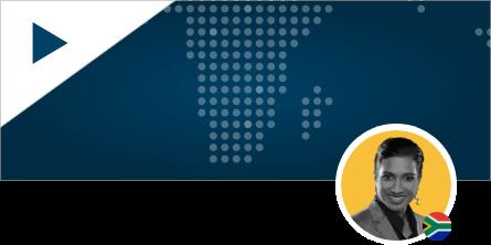 Dineshrie Pillay Headshot on World Map Background