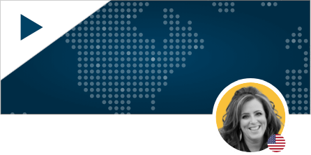 Kelly Swanson Headshot on World Map Background