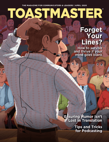 April Magazine Cover Illustrating a Person Giving a Speech Nervous