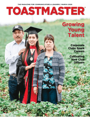 March Magazine Cover Photo of Toastmasters in Green Field