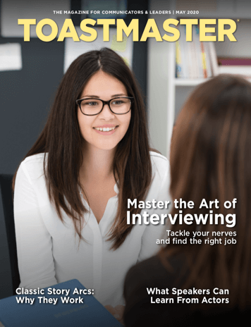 May Magazine Cover Depicting Young Professional Female Interviewing