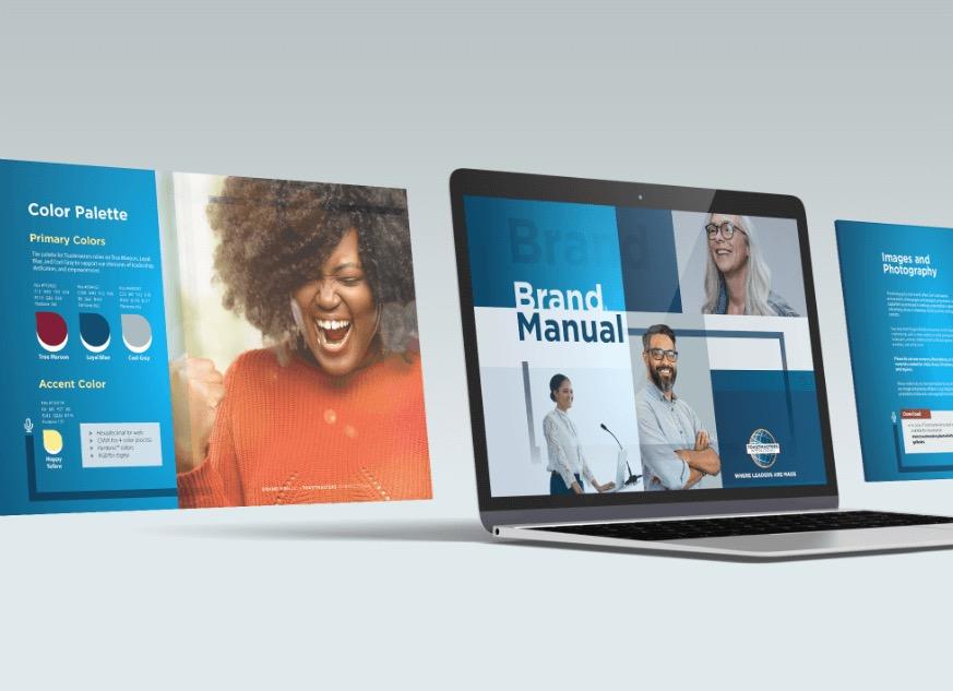 brand manual on laptop screen