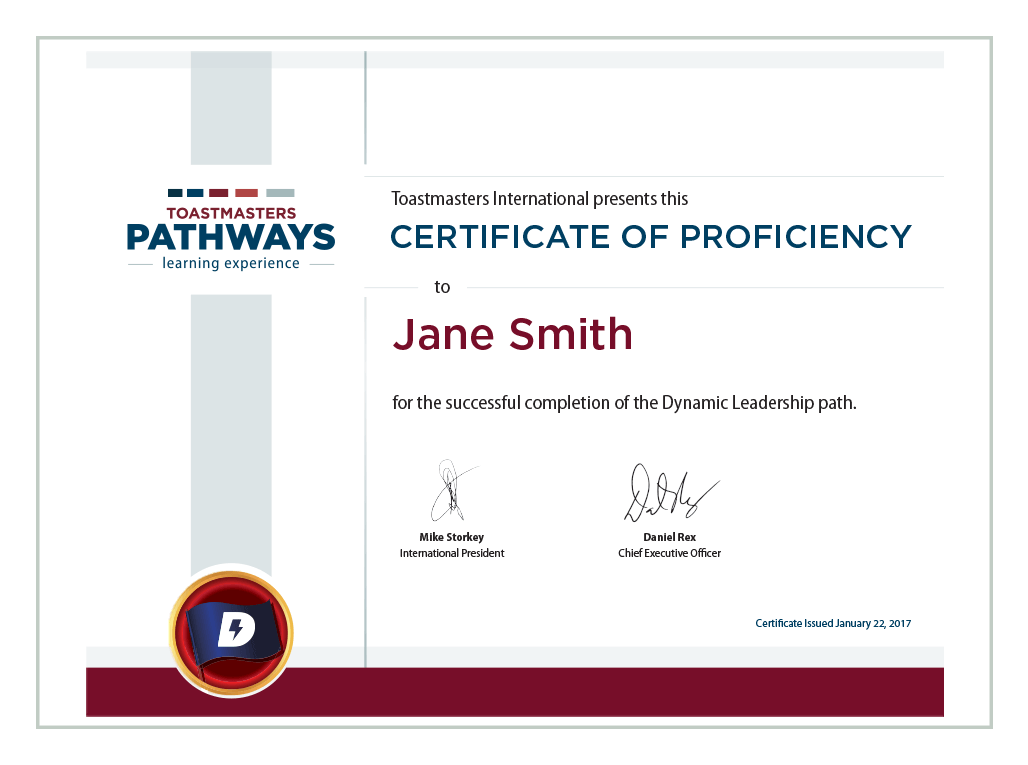 Certificate of proficiency