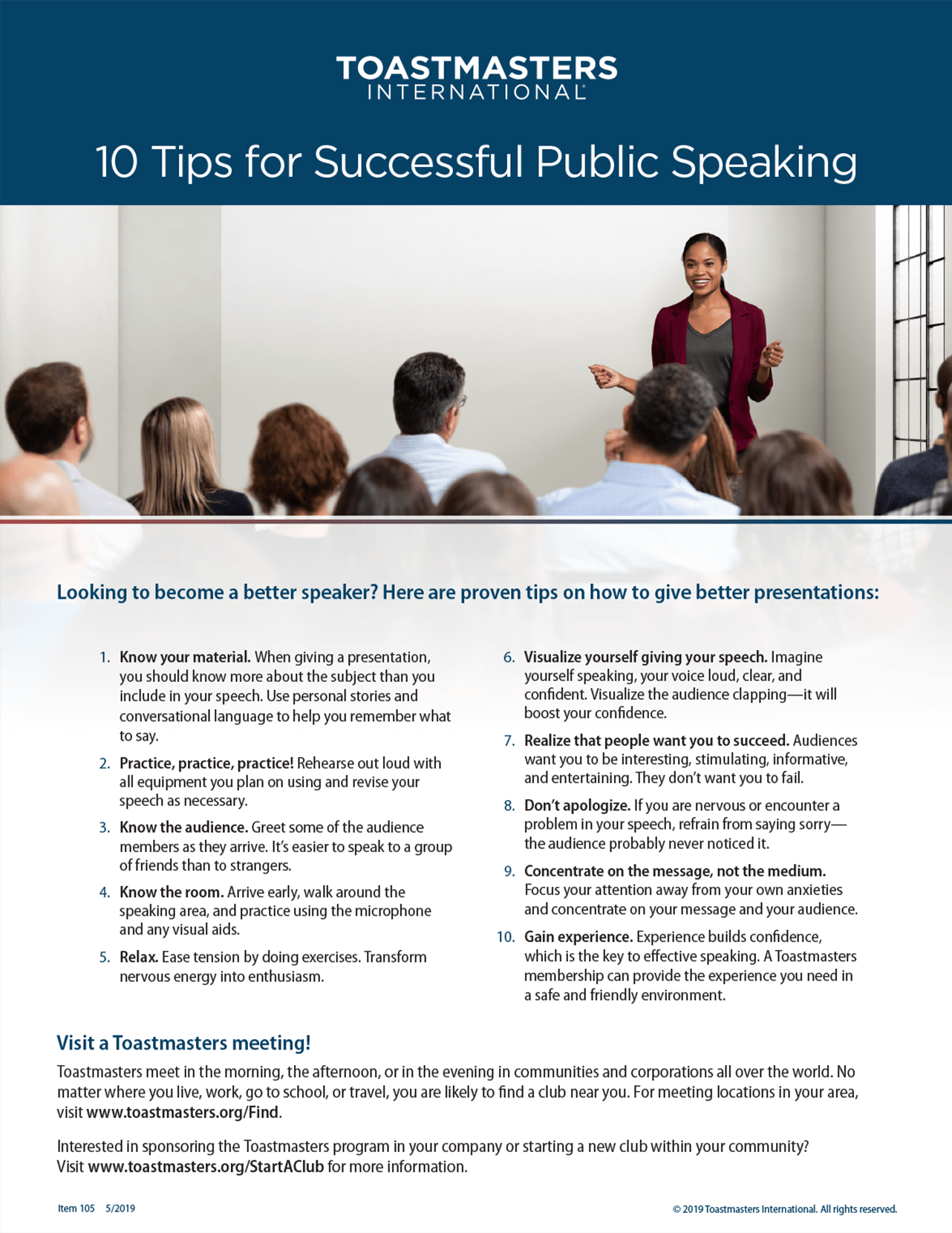 10 Tips for Successful Public Speaking Flier