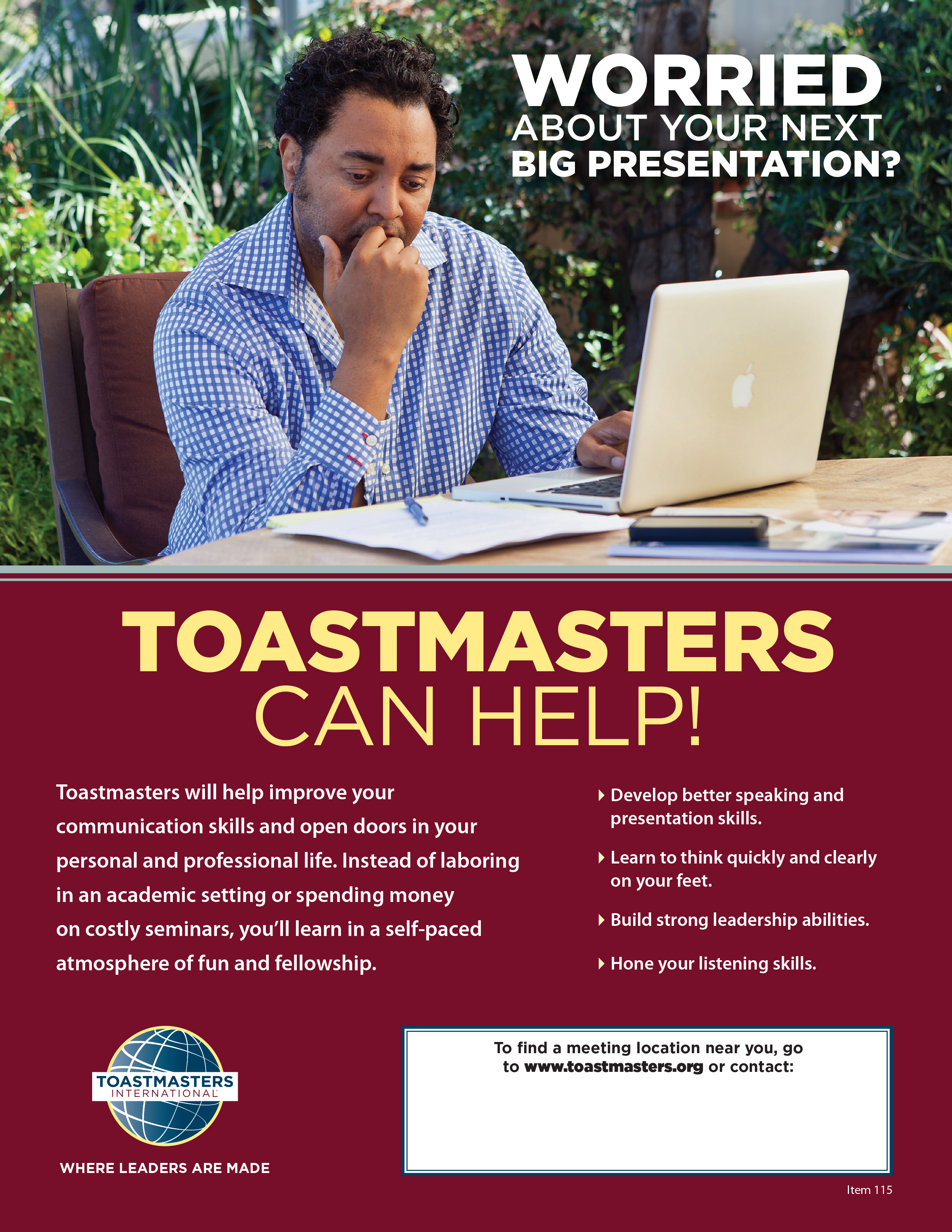 Toastmasters Can Help! Flier