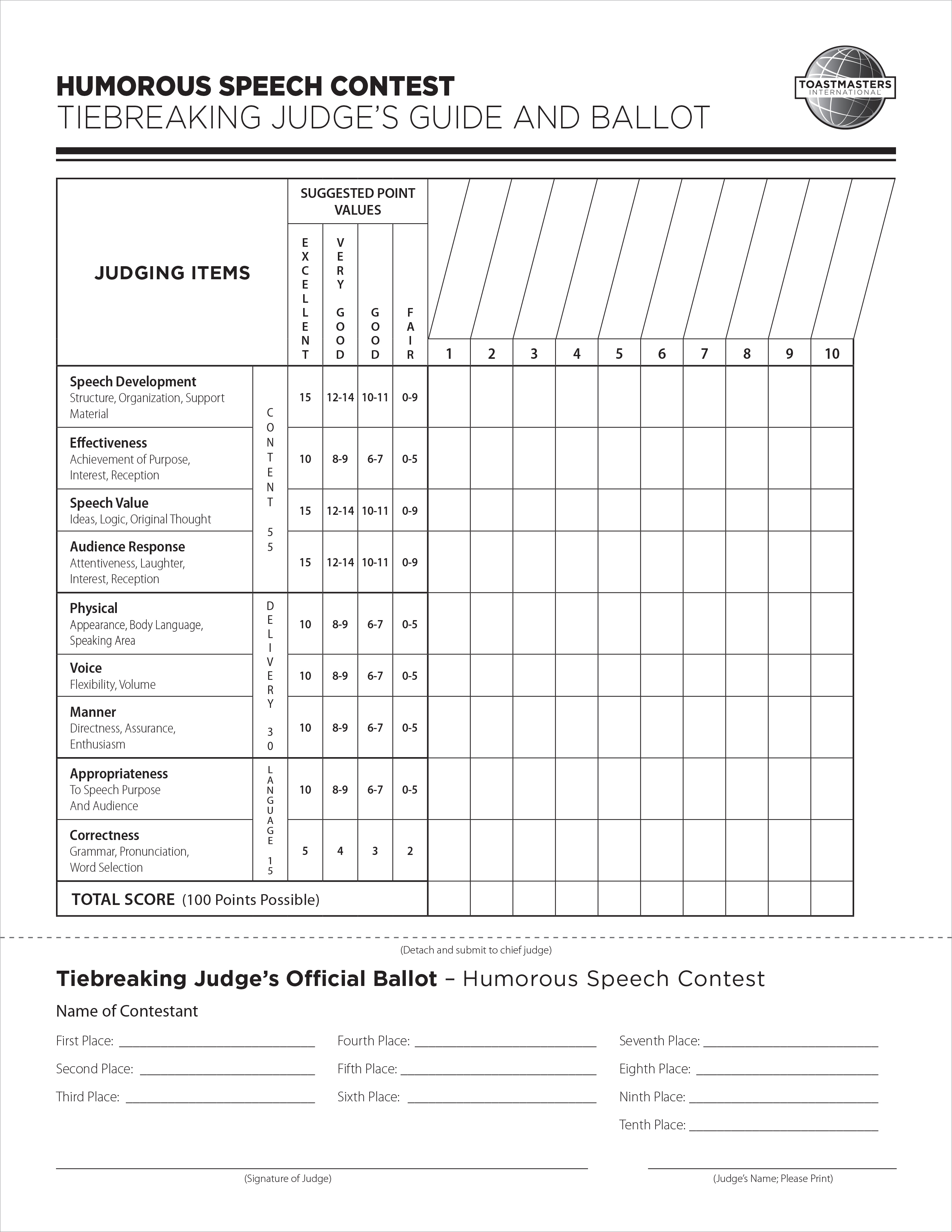 humorous speech contest tiebreaking judges guide and ballot