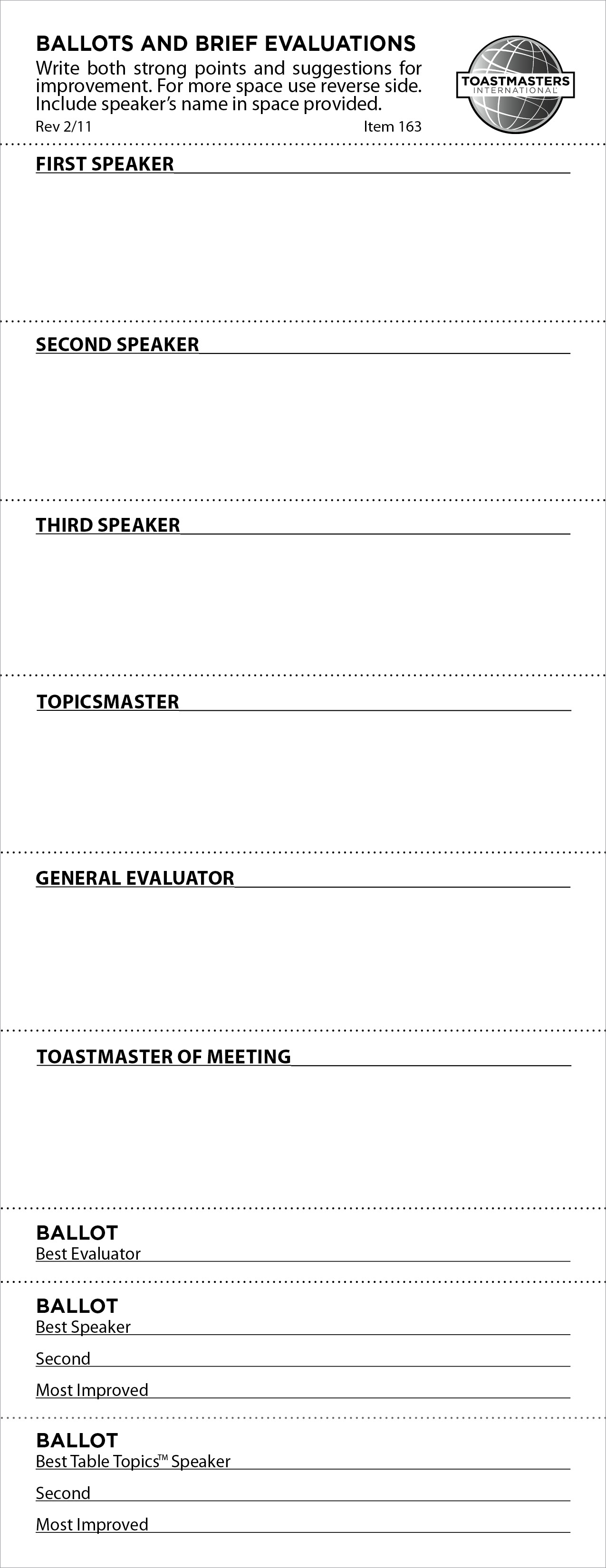 Ballots and Brief Evaluations (set of 500)