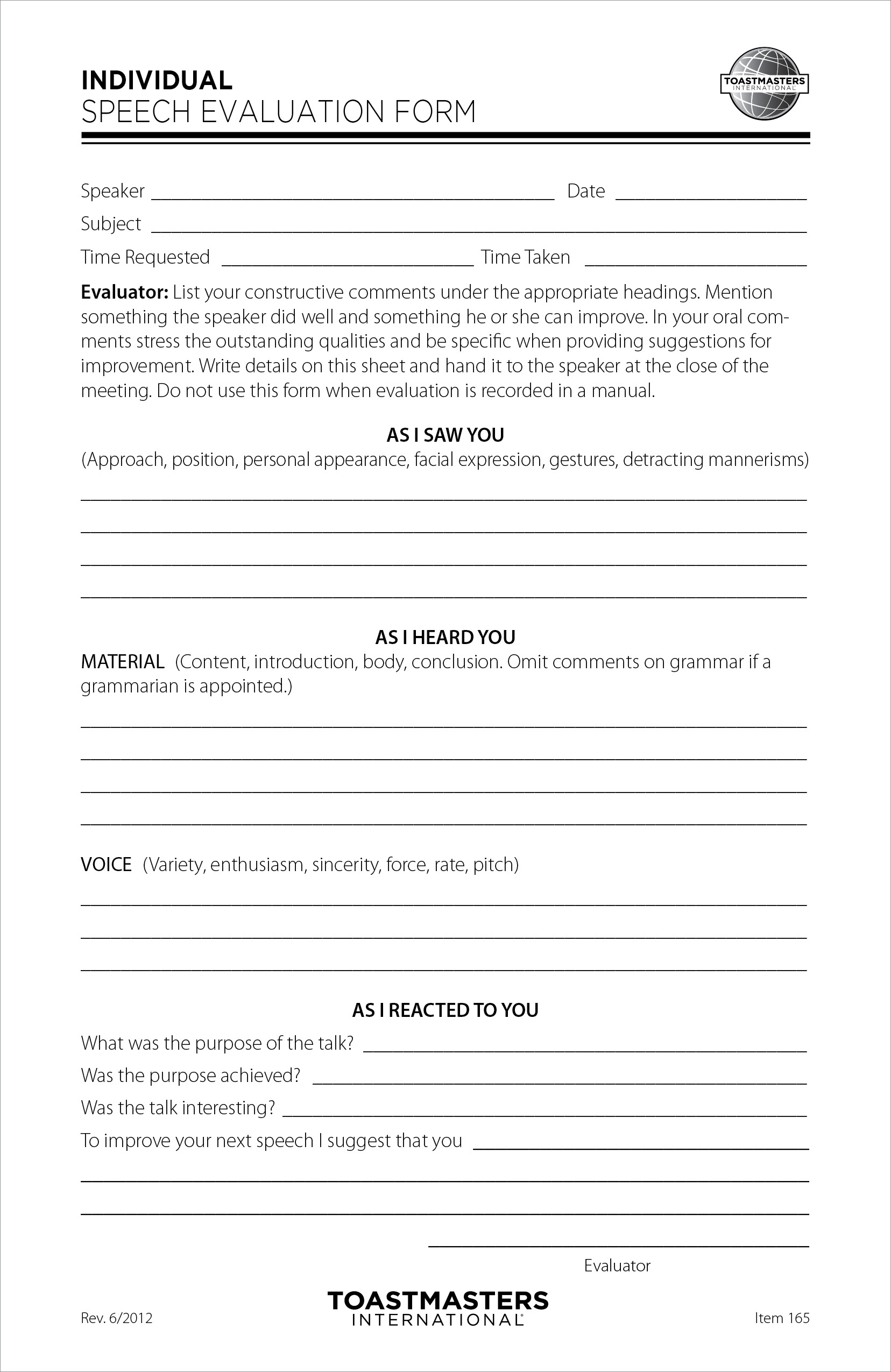 Individual Speech Evaluation Form (set of 25)