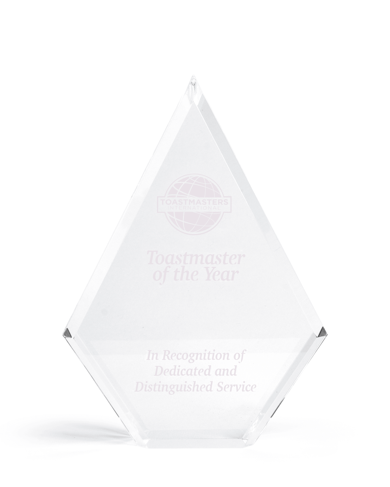Award featuring Toastmaster of the Year Award and In recognition of dedicated and distinguished service text