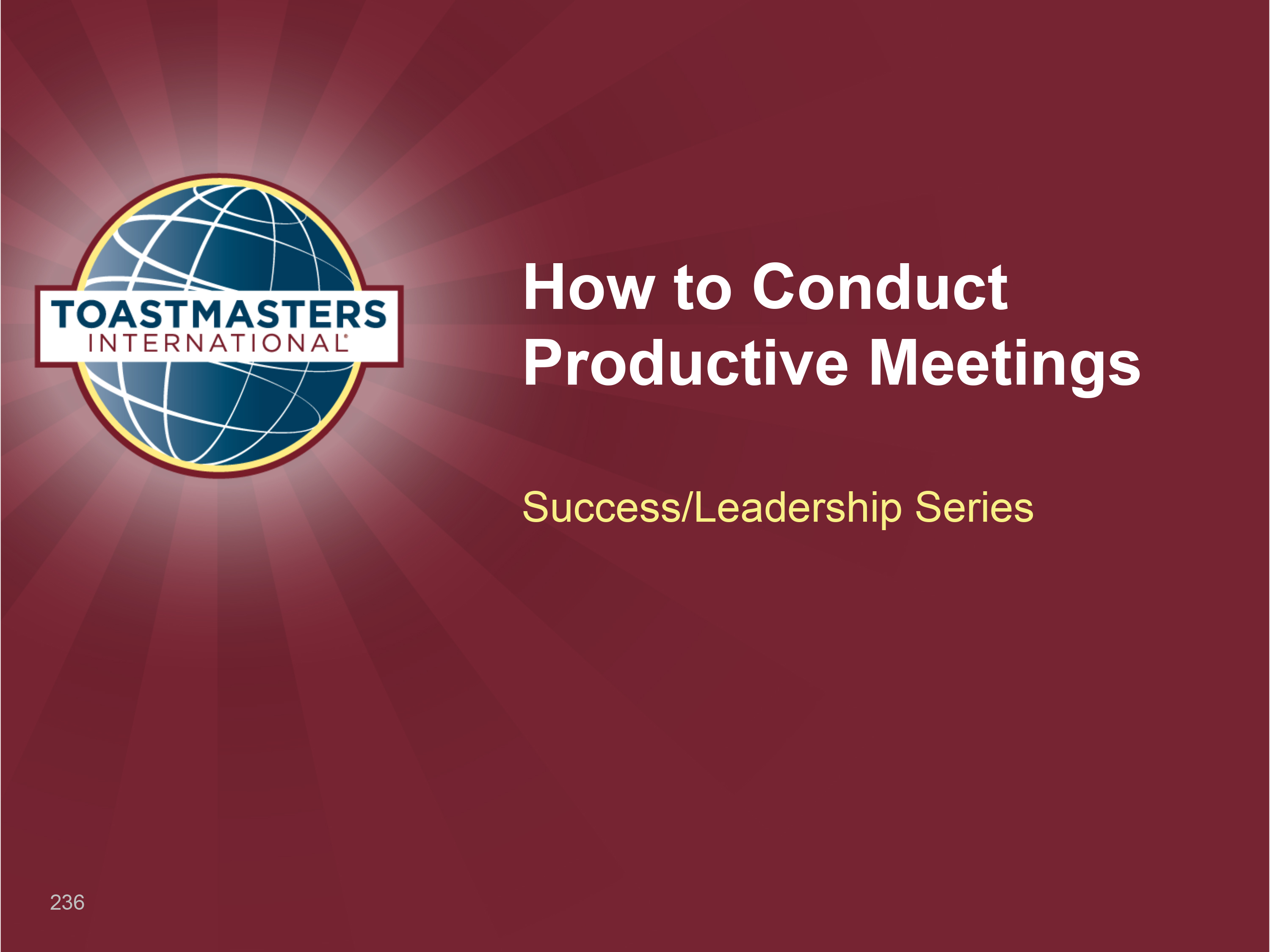 How to Conduct Productive Meetings Workshop (PPT)