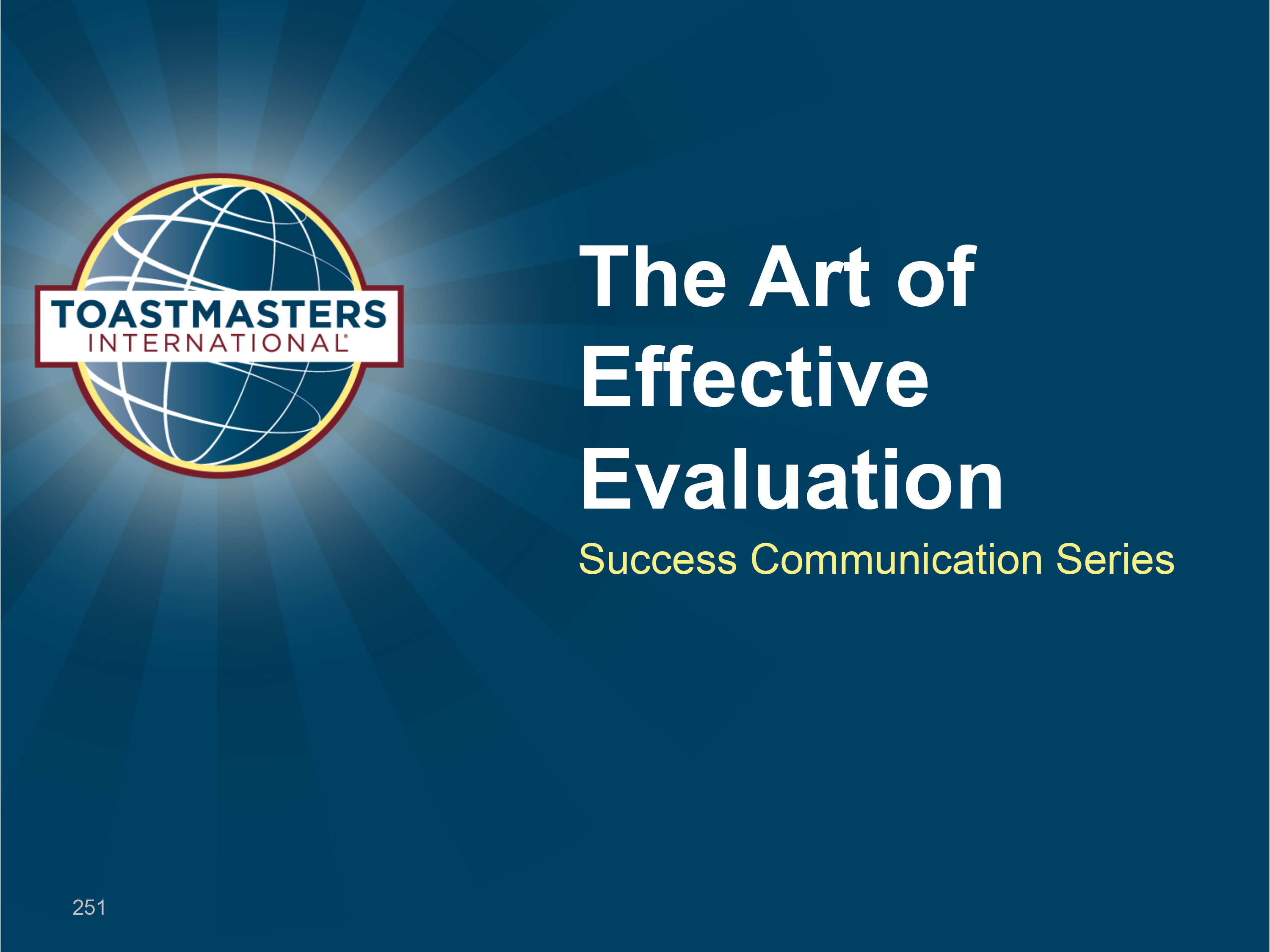 The Art of Effective Evaluation (PPT)