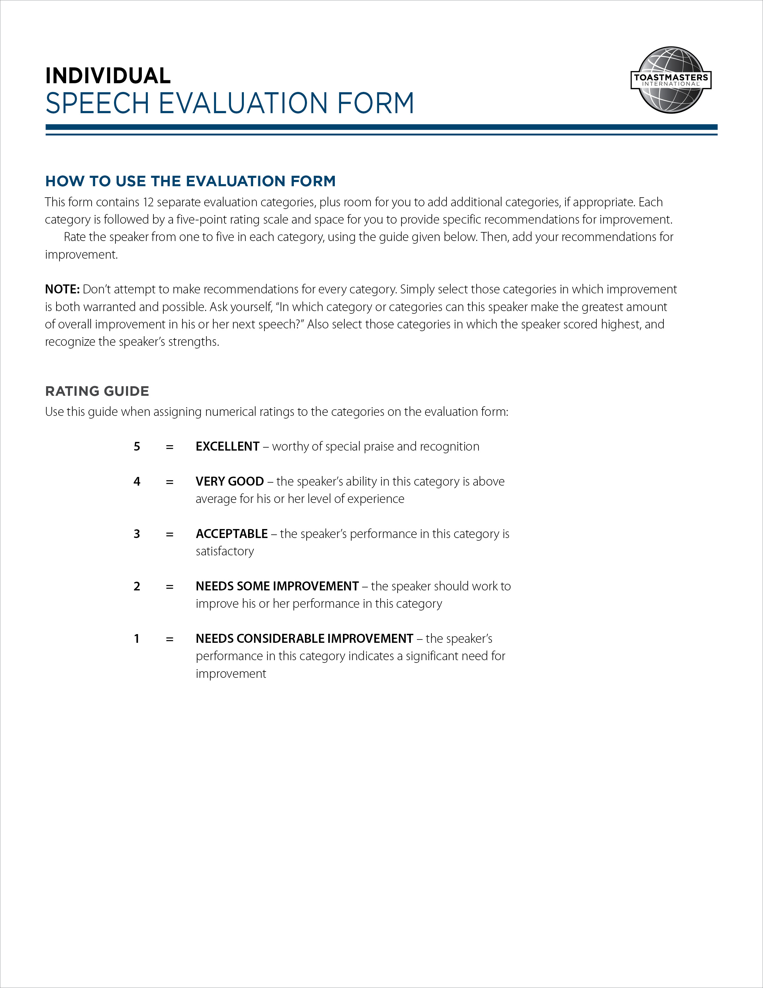 Toastmaster Speech Evaluation Form Ibovnathandedecker