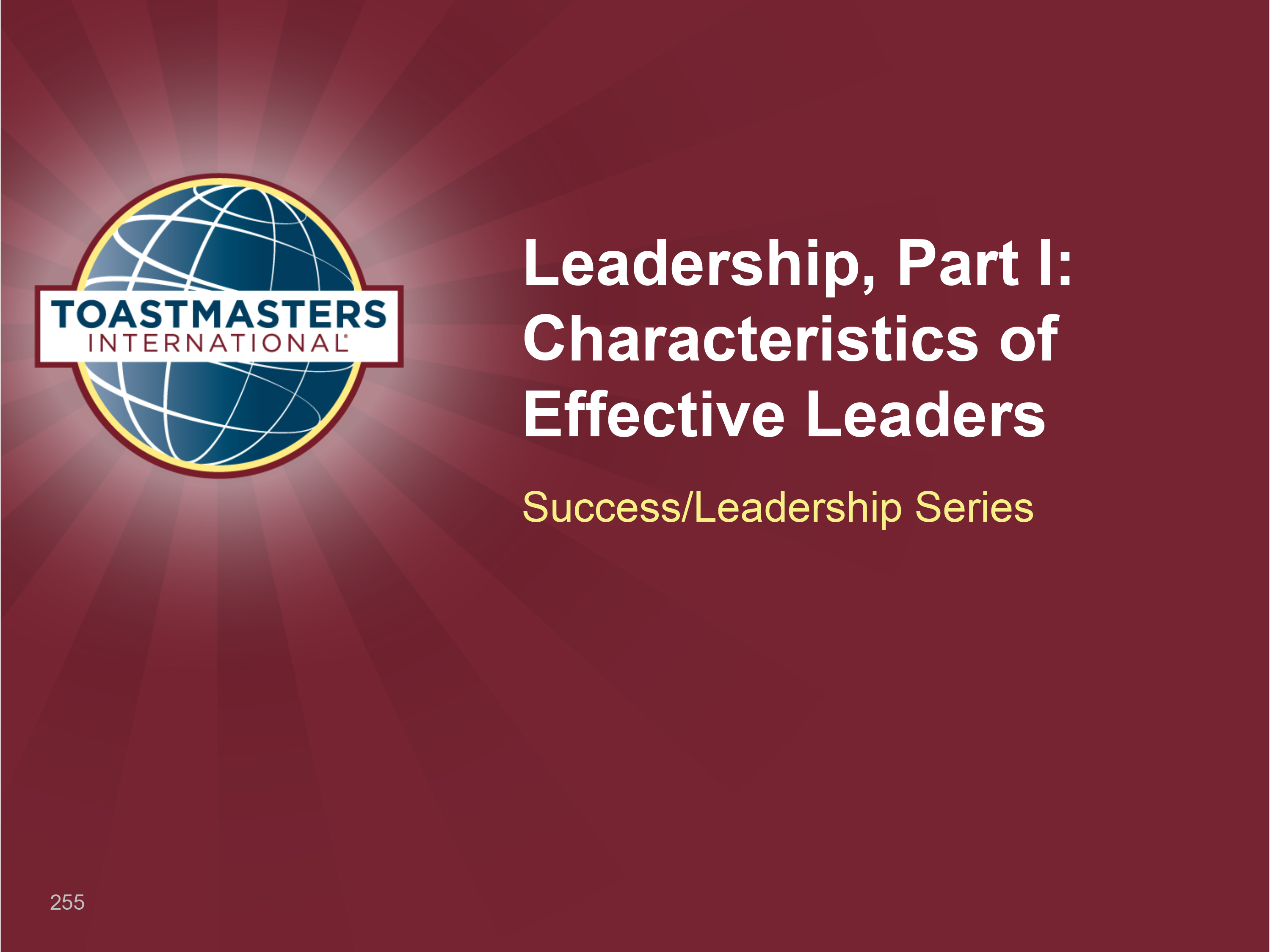 Leadership, Part I: Characteristics of Effective Leaders (PPT)