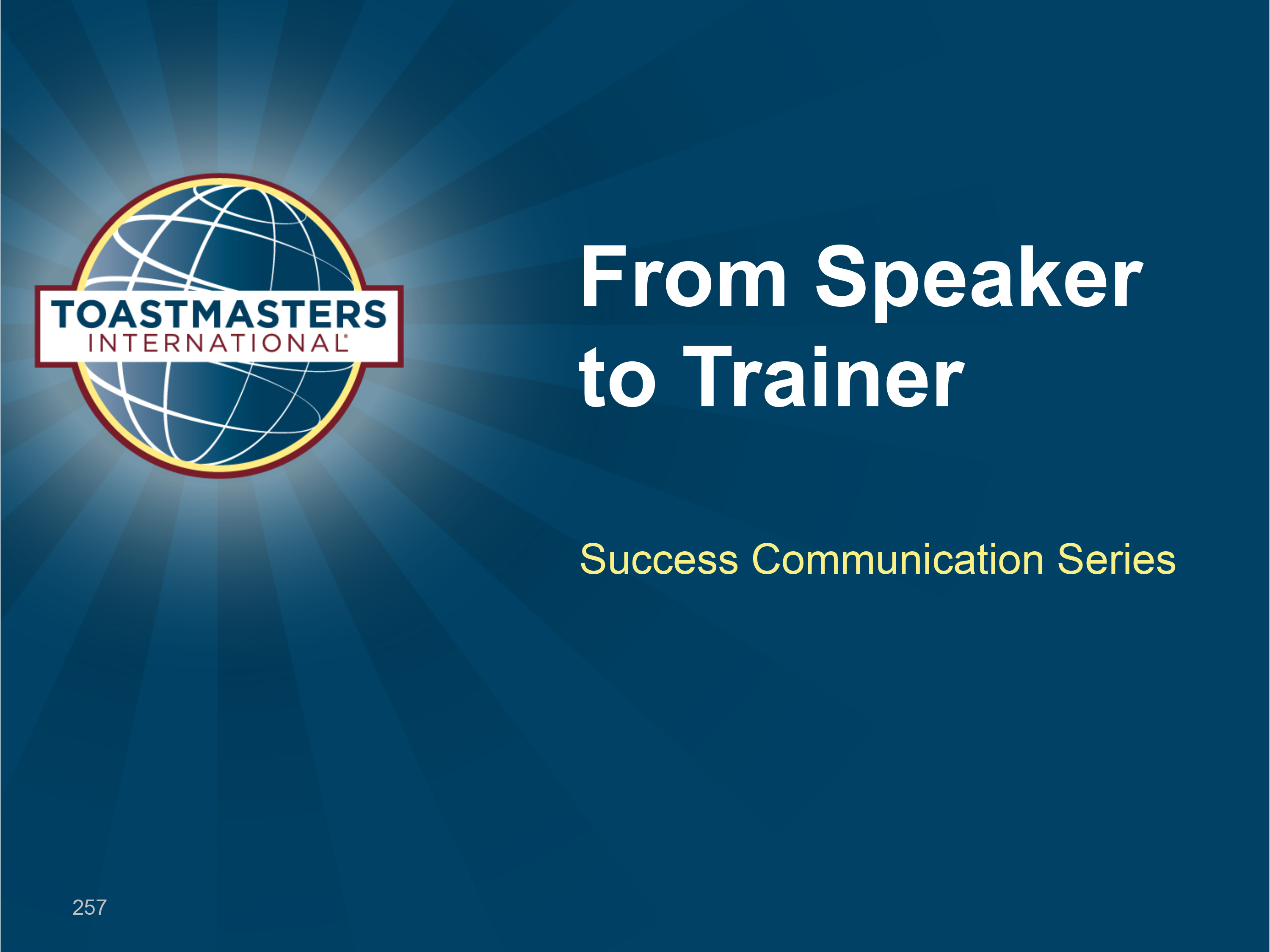 From Speaker to Trainer (Power Point)