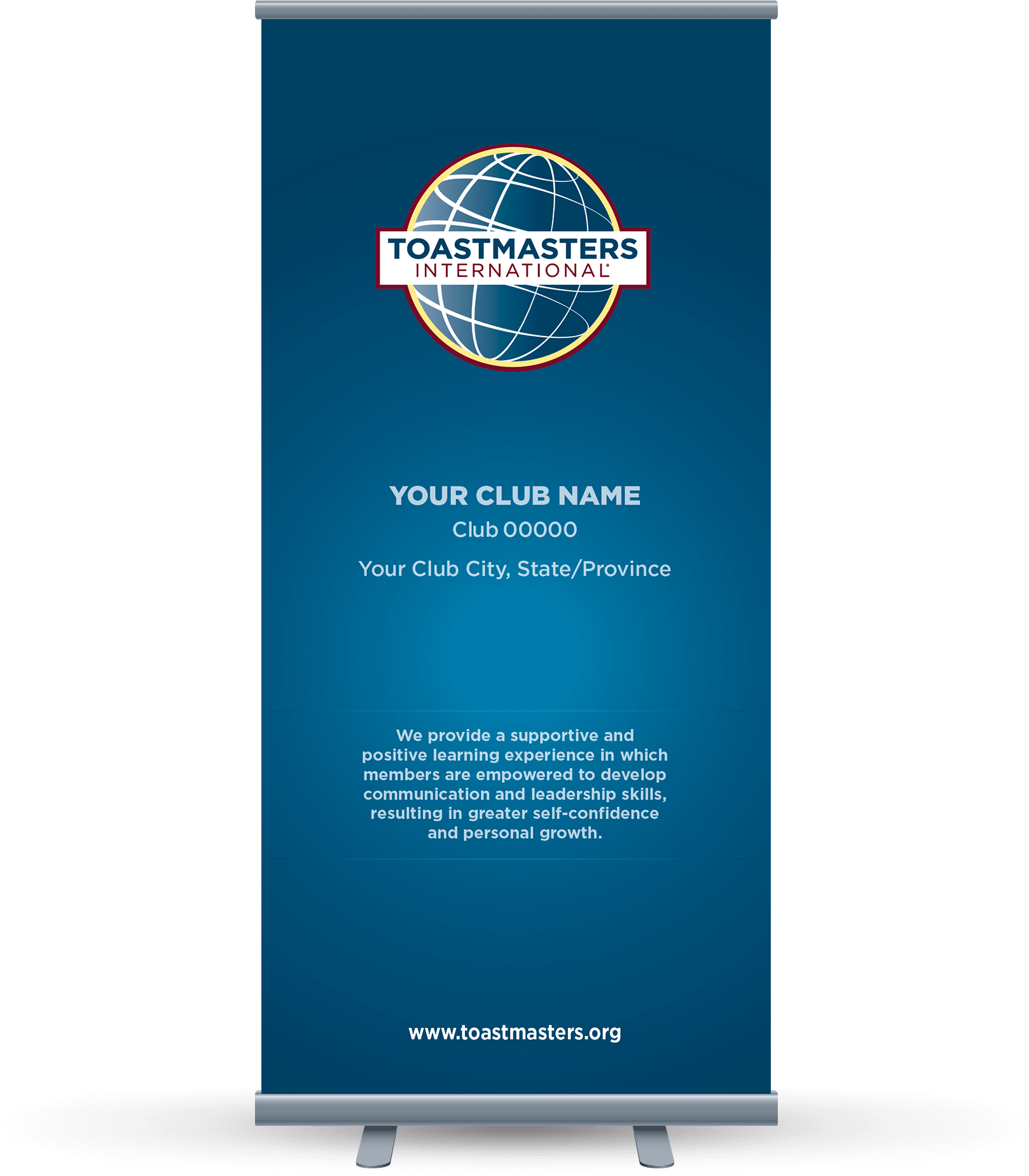 Custom Club Banner featuring navy blue background, club logo and club mission statement