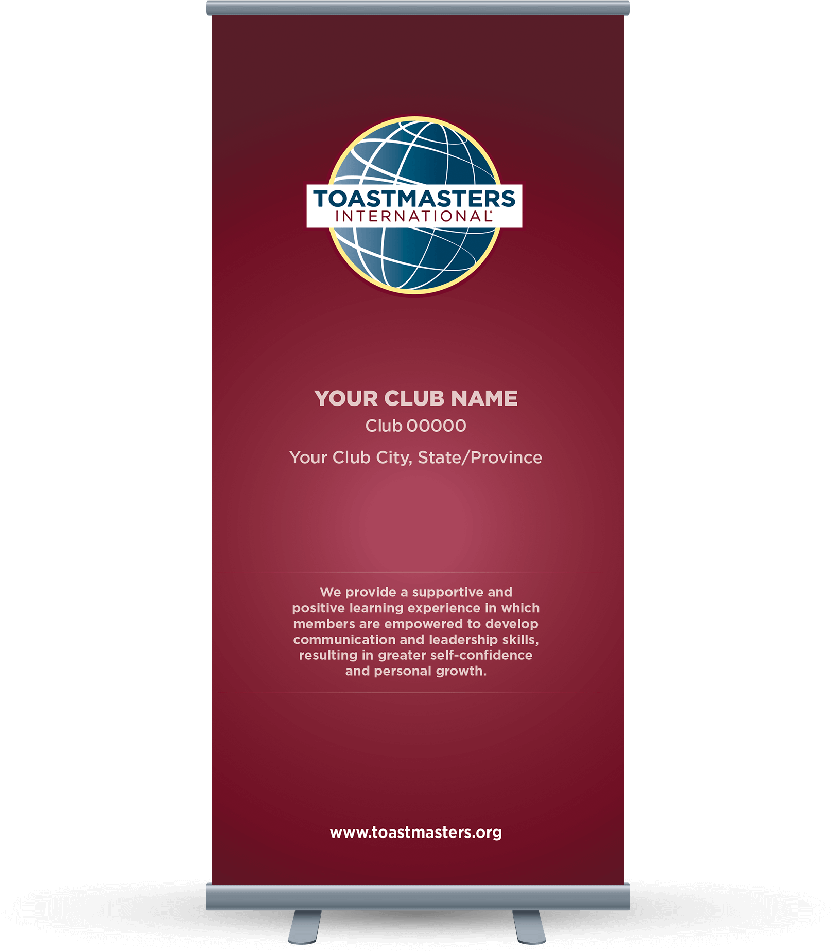 Custom Club Banner with burgundy background, globe logo and club mission statement