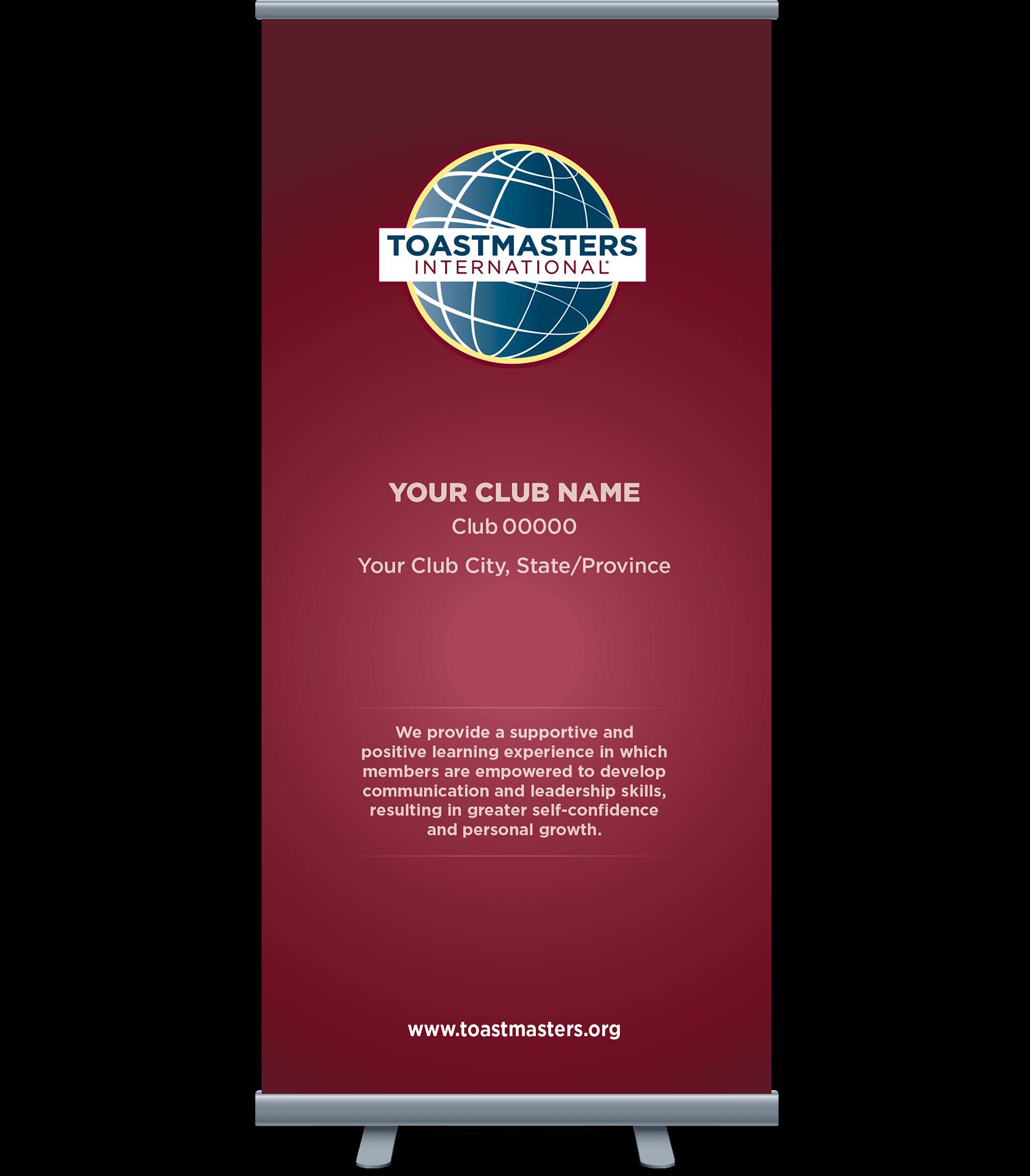 Custom Club Banner with burgundy background, globe logo and club mission statement