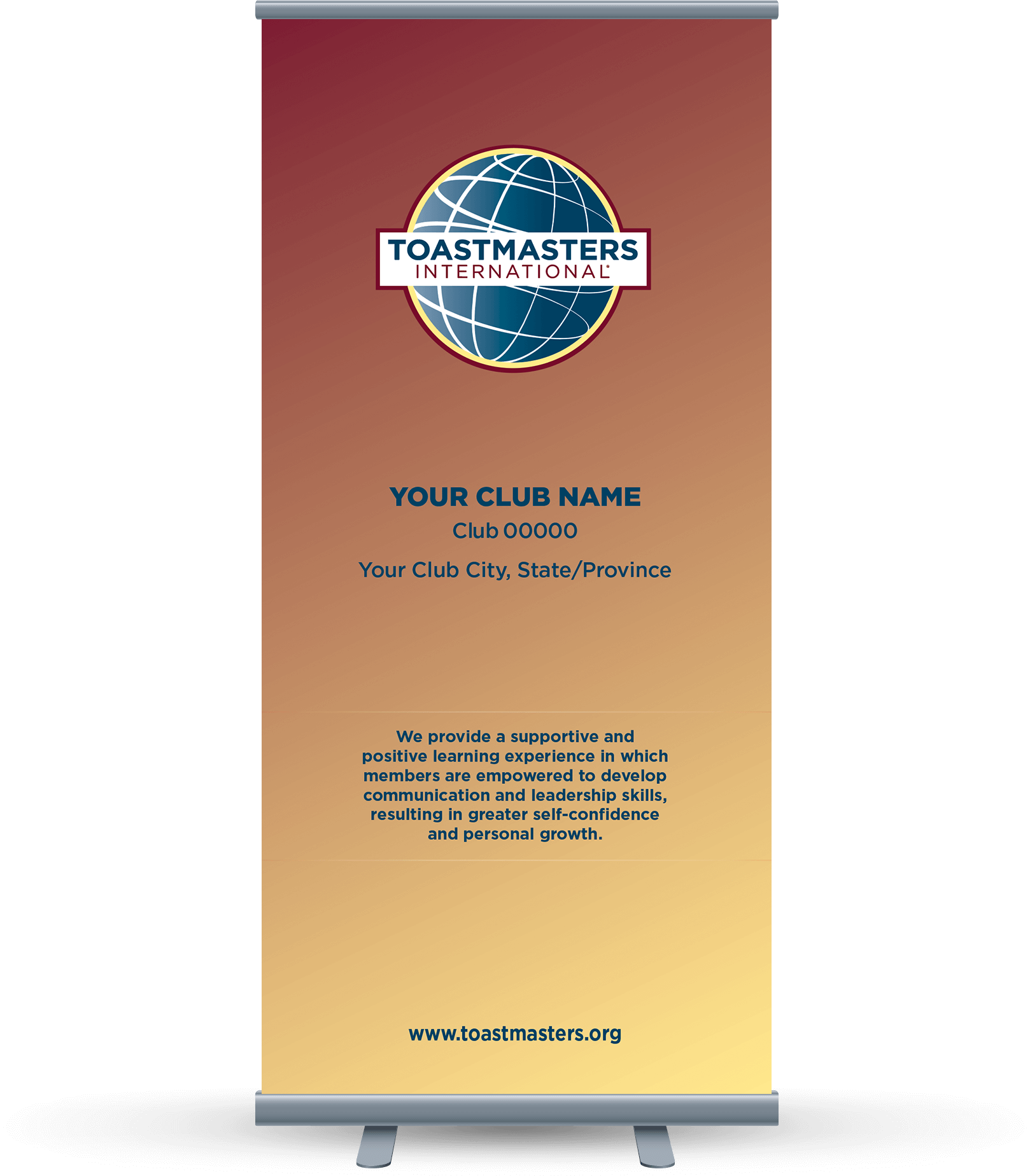 Custom Club Banner with yellow background, globe logo and club mission statement