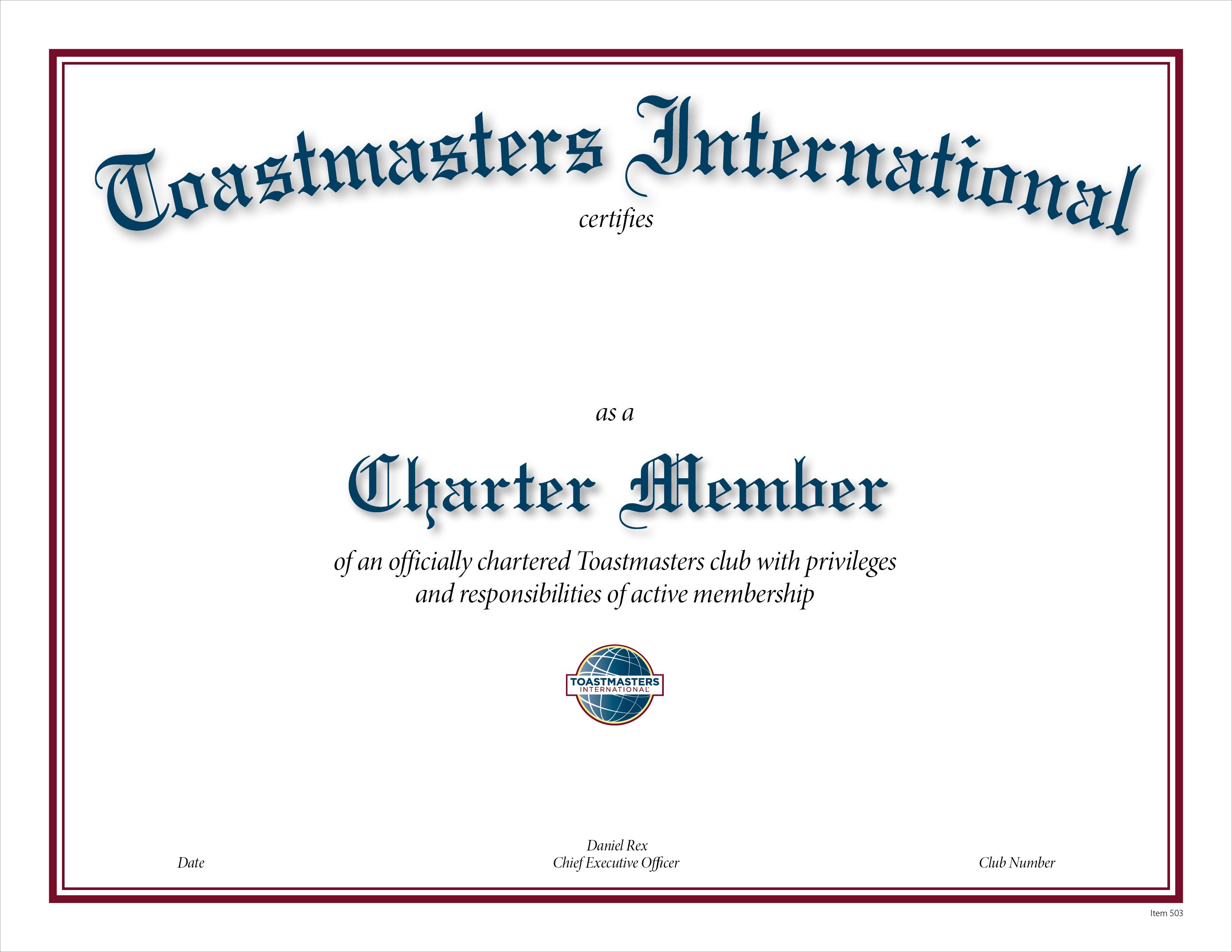 club charter member certificate