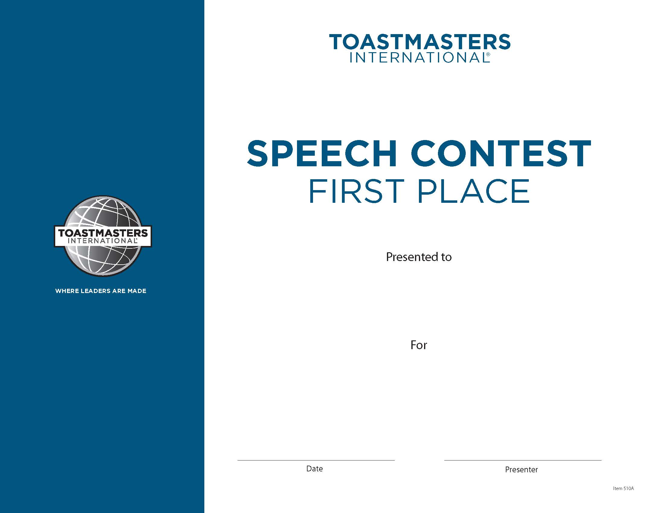 Toastmasters International  First Place Certificate