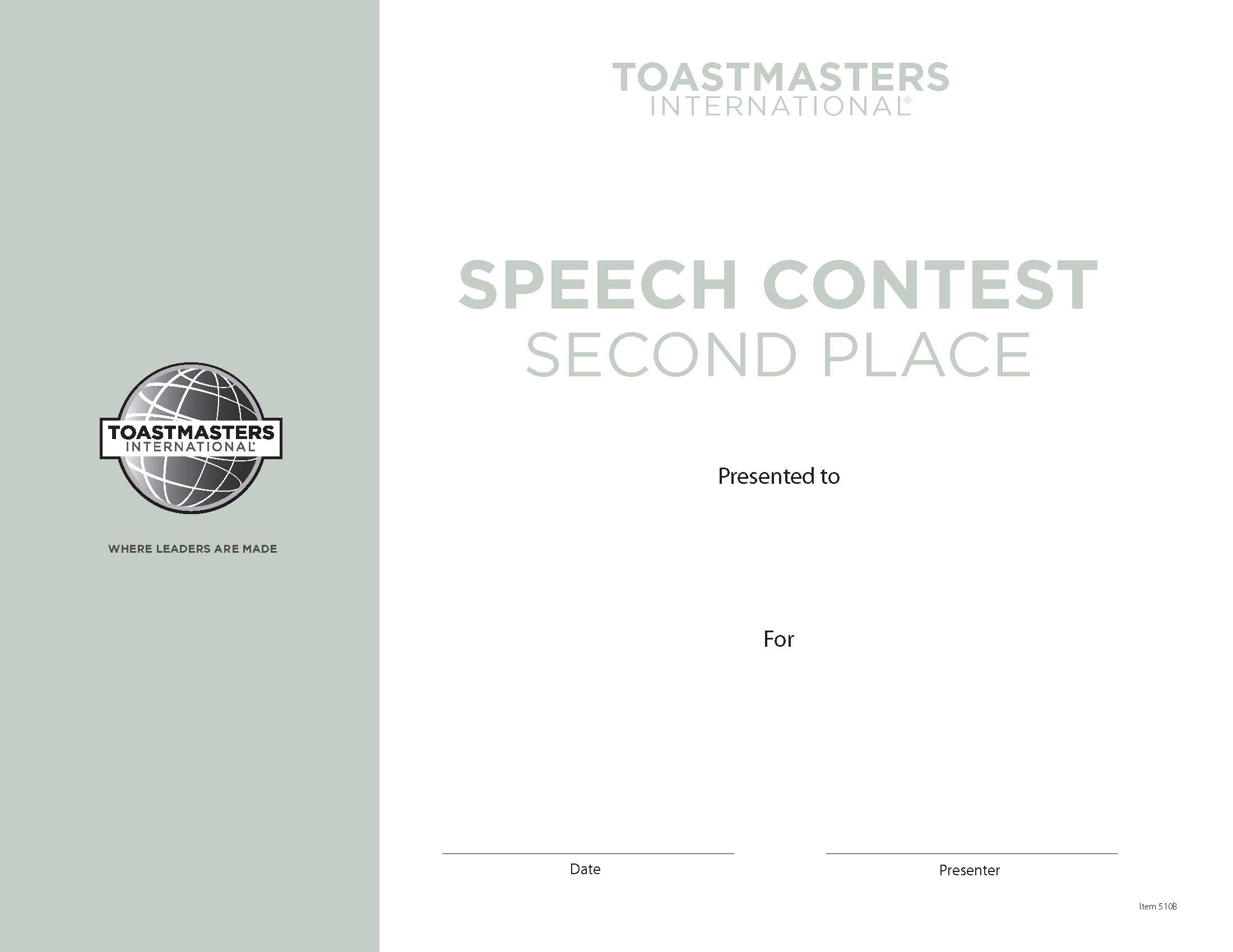 speech contest certificate 2nd place
