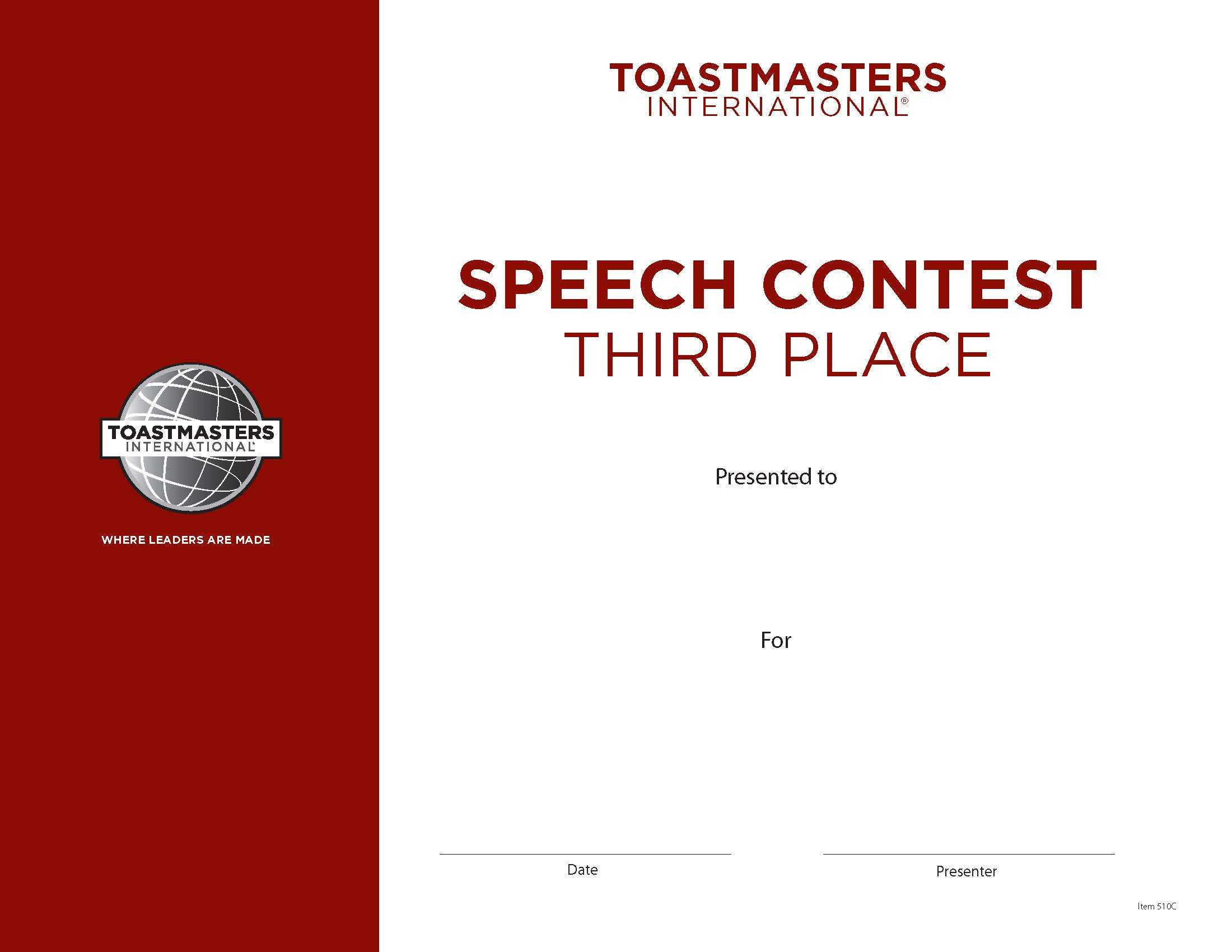 speech contest certificate 3rd place