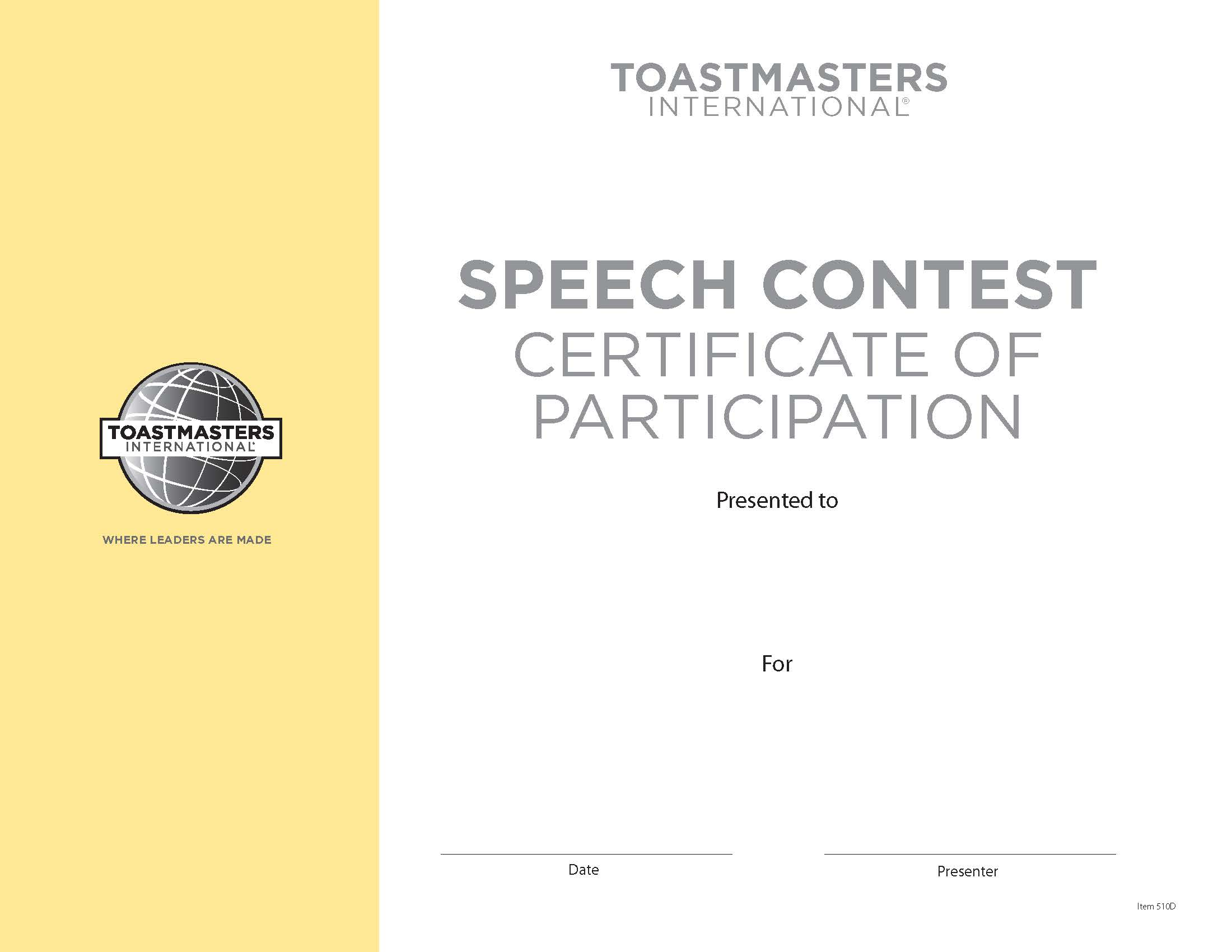 toastmasters certificate of appreciation template - speech contest participation certificate