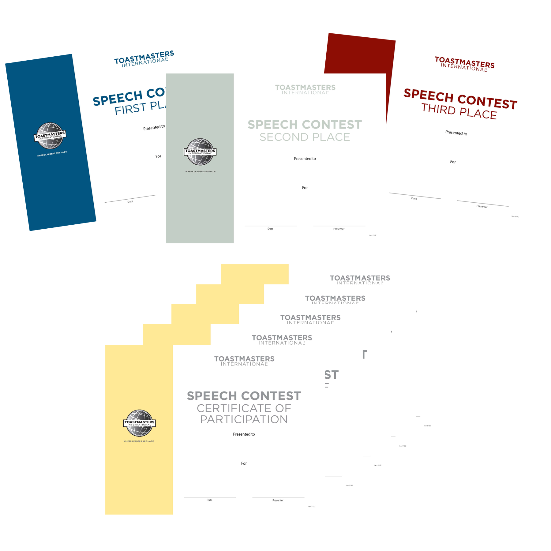 toastmasters certificate of appreciation template - speech contest certificates set of 8