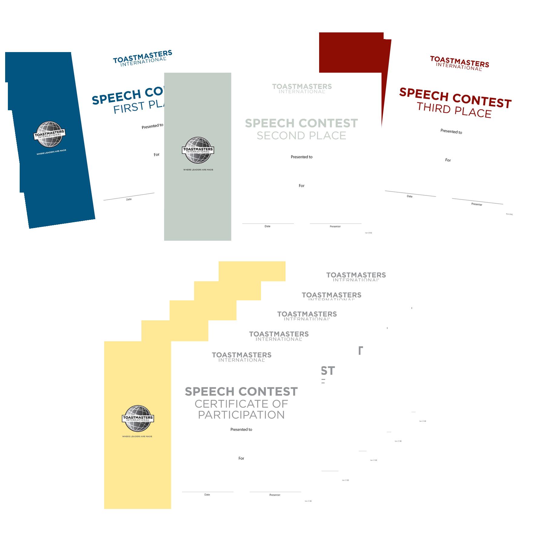 Speech Contest Certificates Set Of 8