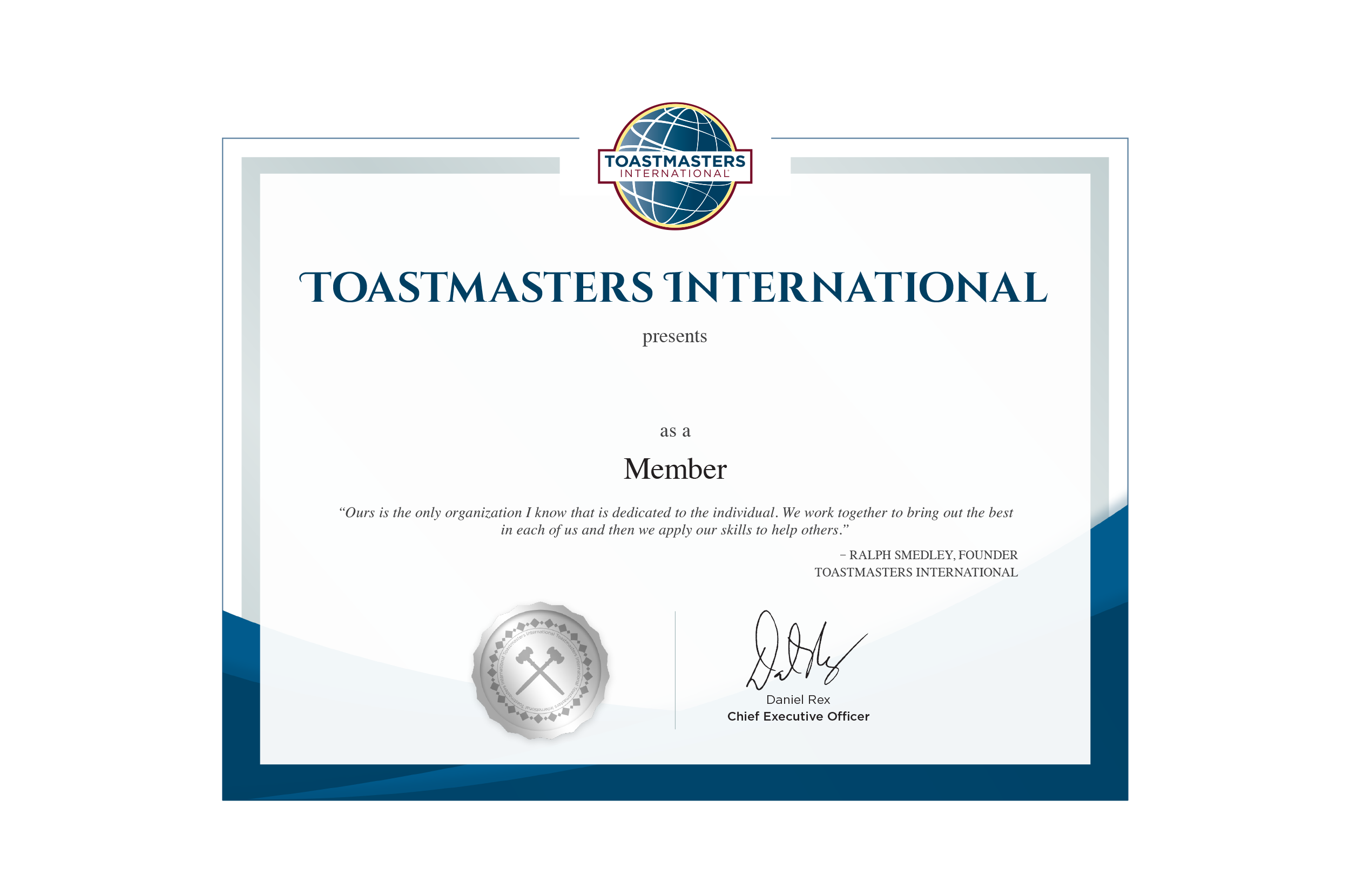 Membership certificate for Toastmasters certificate of appreciation template