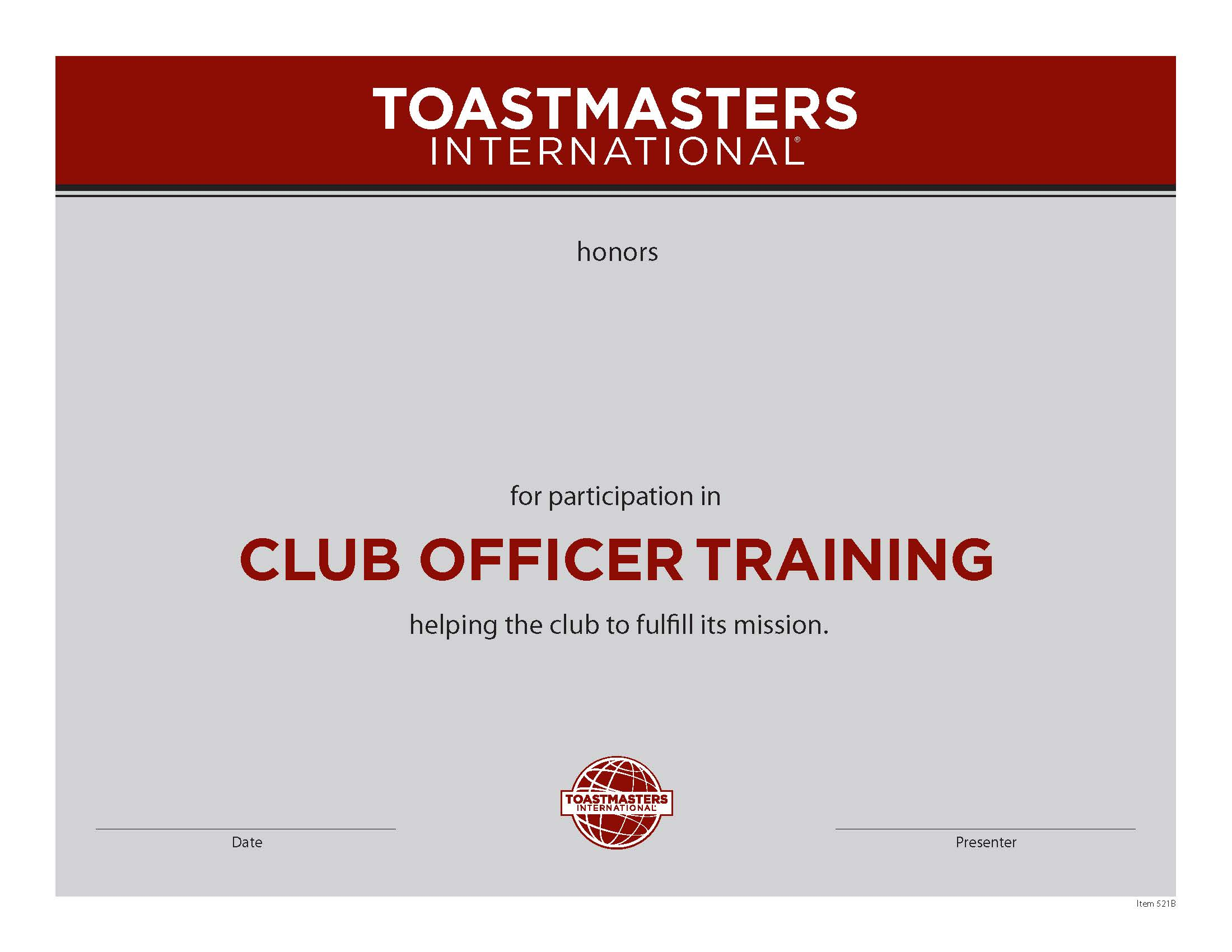 Club Officer Training Certificate
