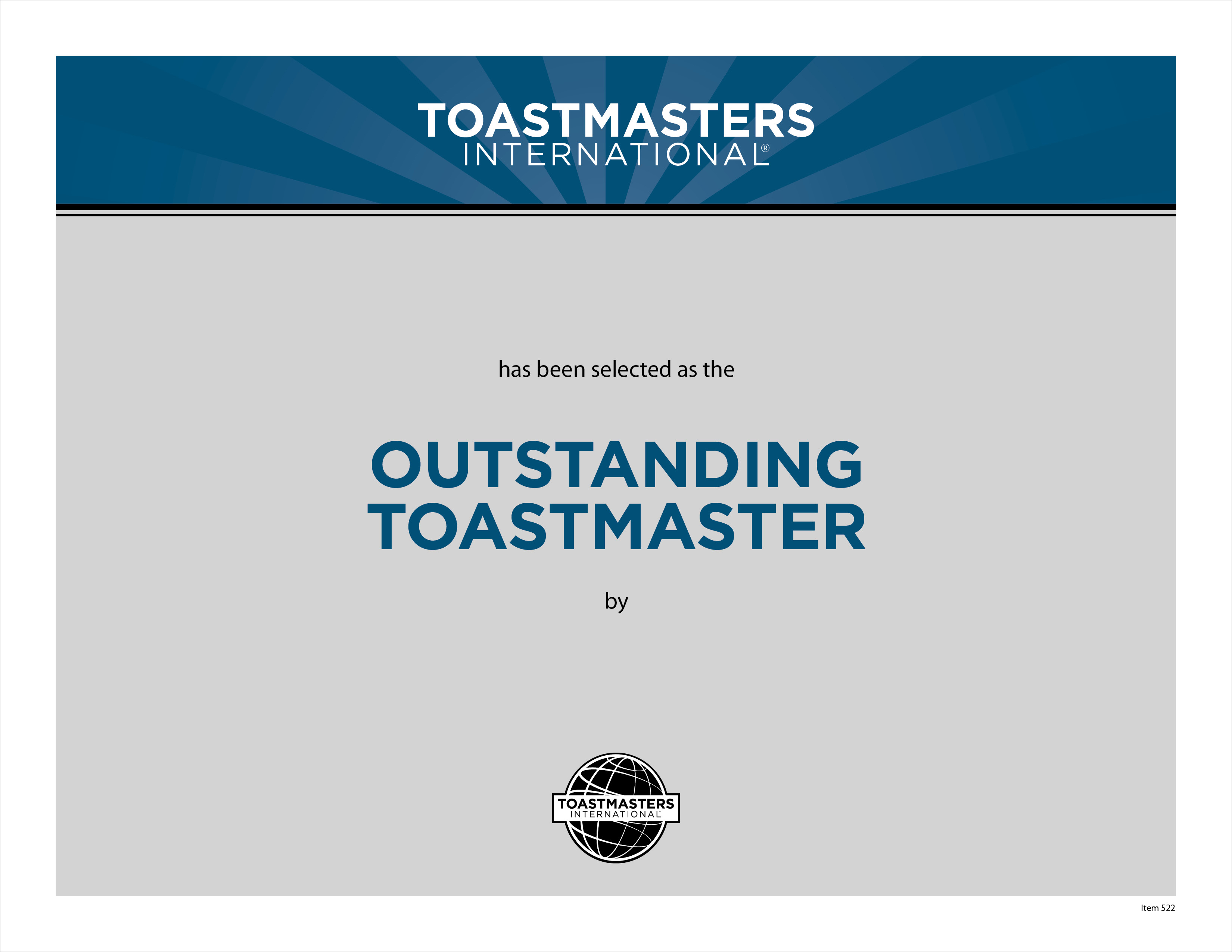 outstanding toastmaster certificate