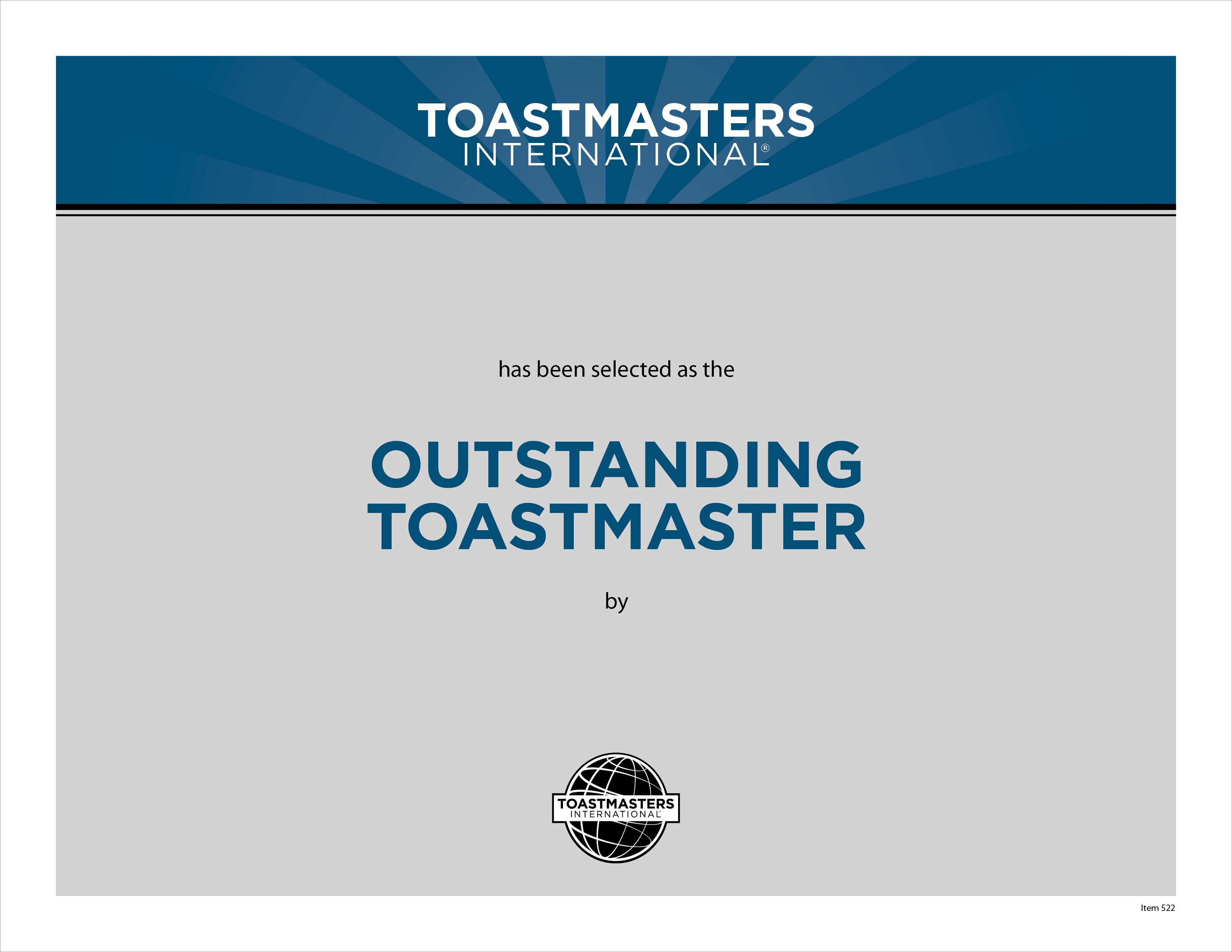 outstanding toastmaster certificate