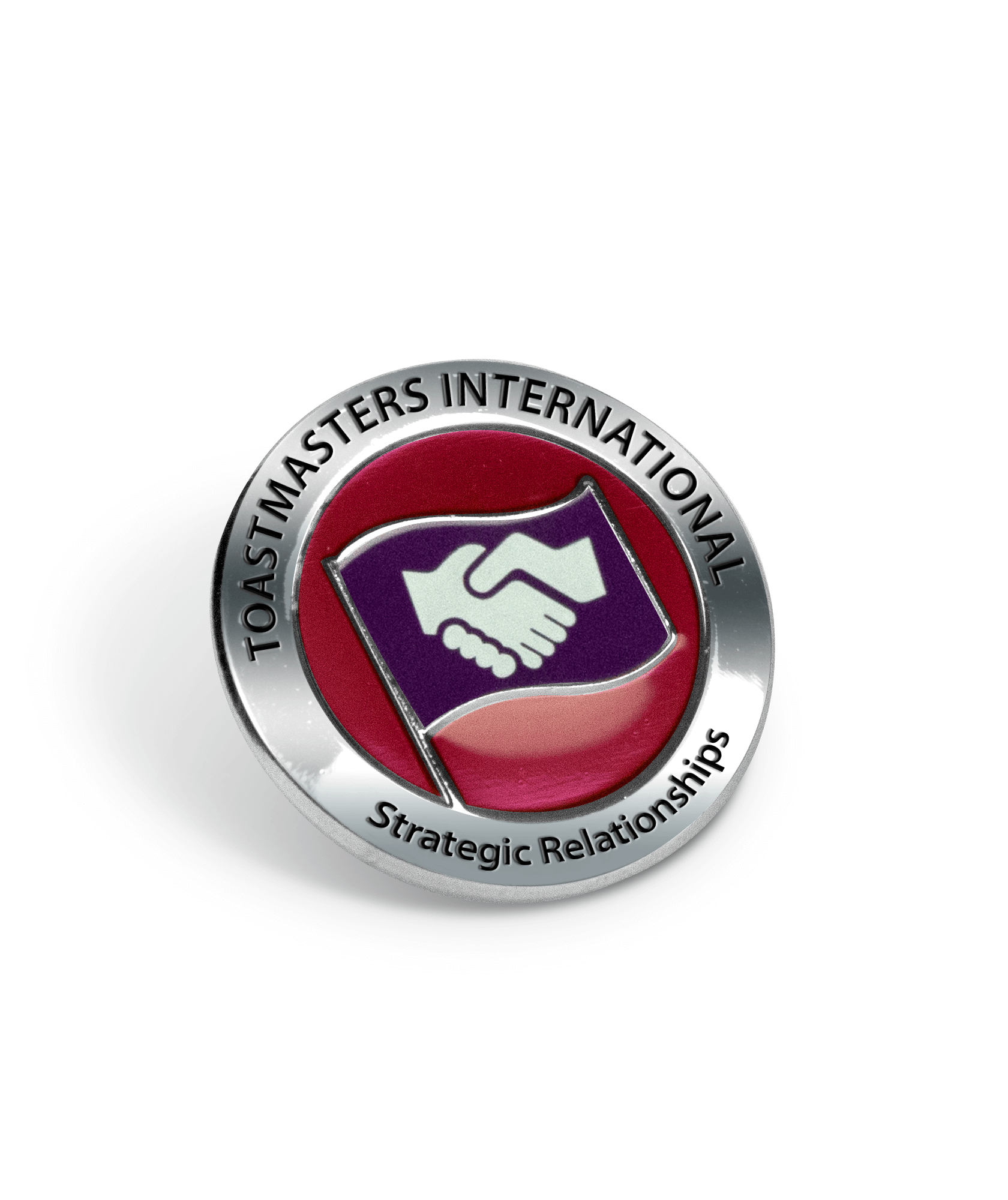 Polished silver pin with Toastmasters International and Strategic Relationships engraved on outside ring - features Strategic Relationship path logo in center