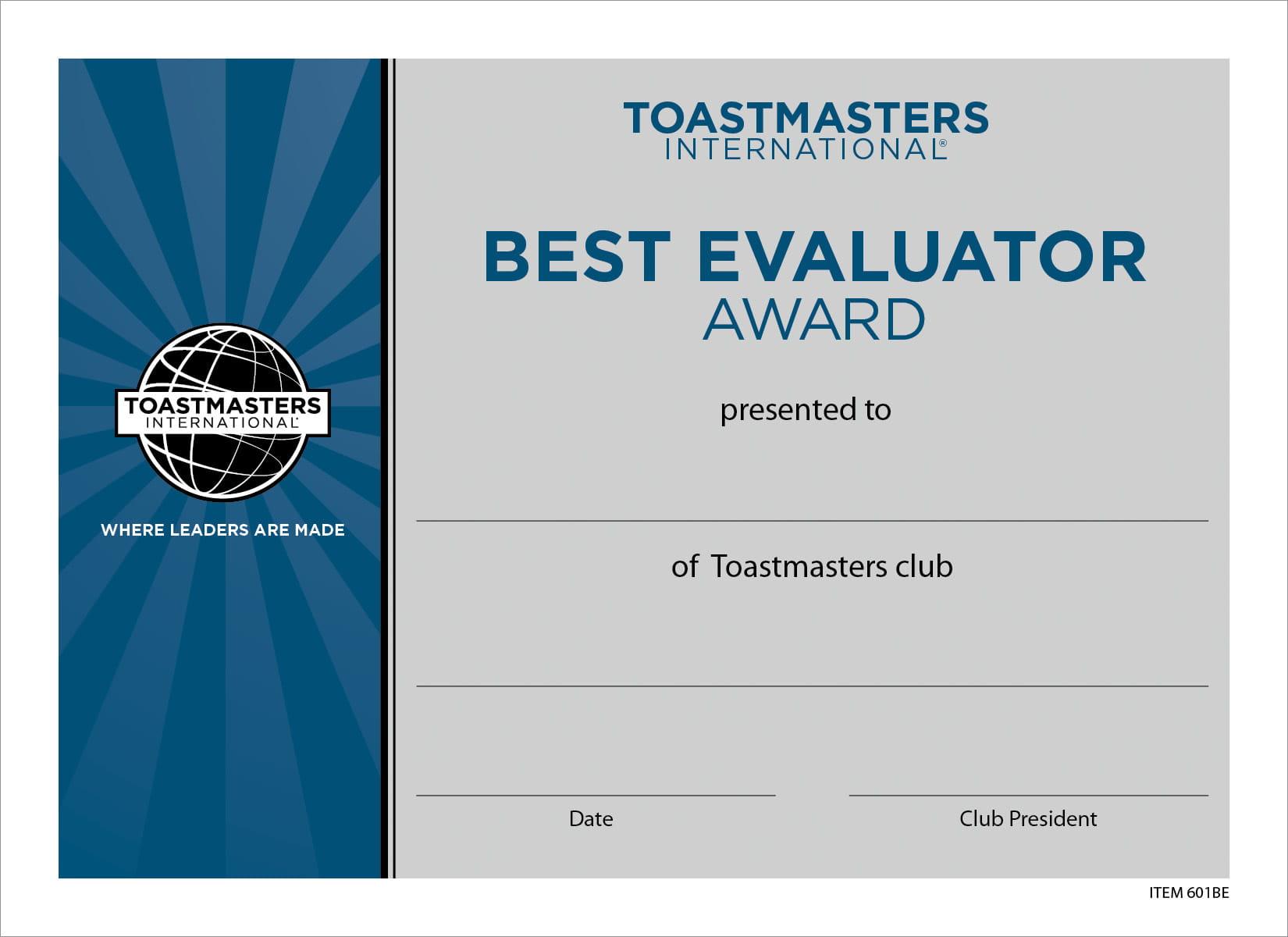 toastmasters certificate evaluator awards certificates