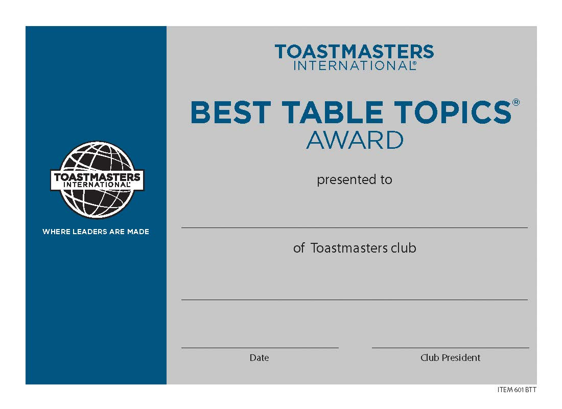 Best table topics certificate mini for Speech contest certificate template