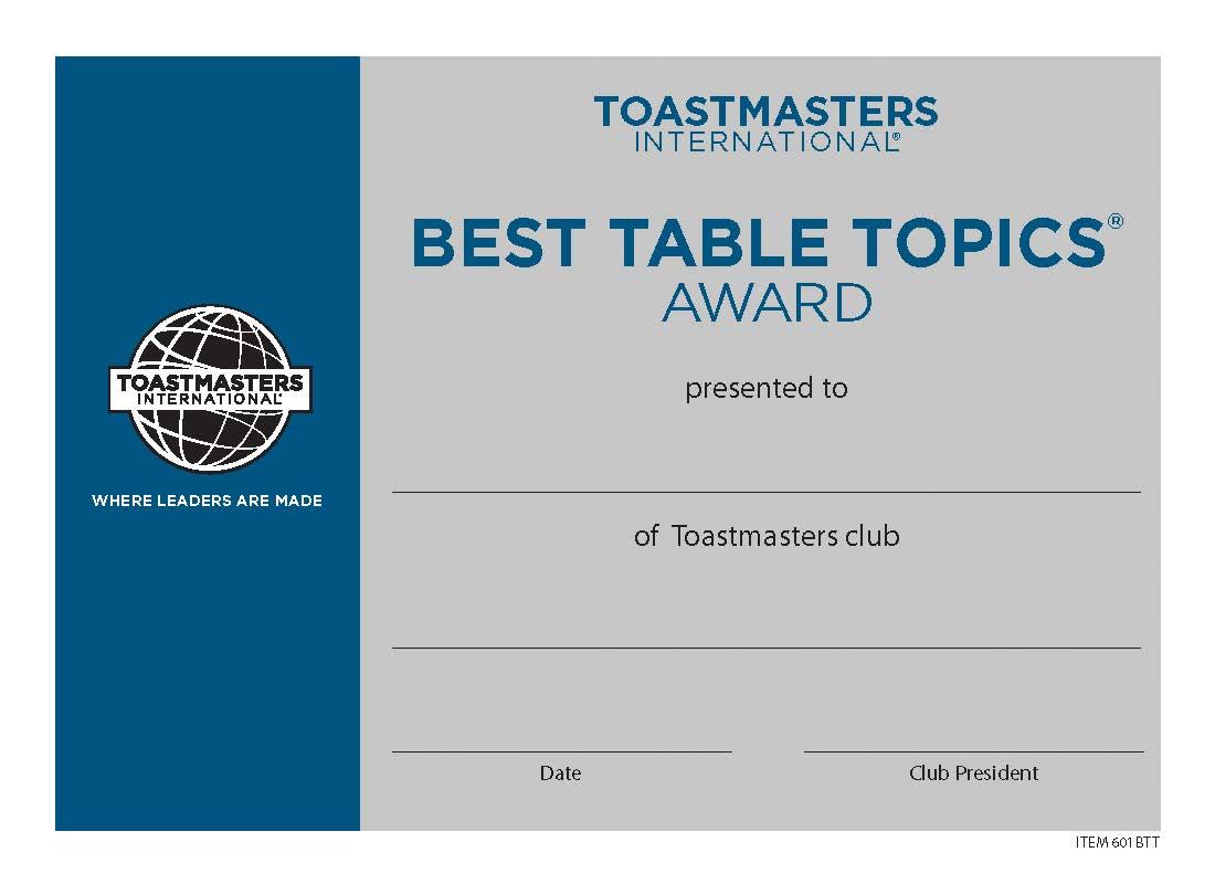 best table topics174 certificate mini