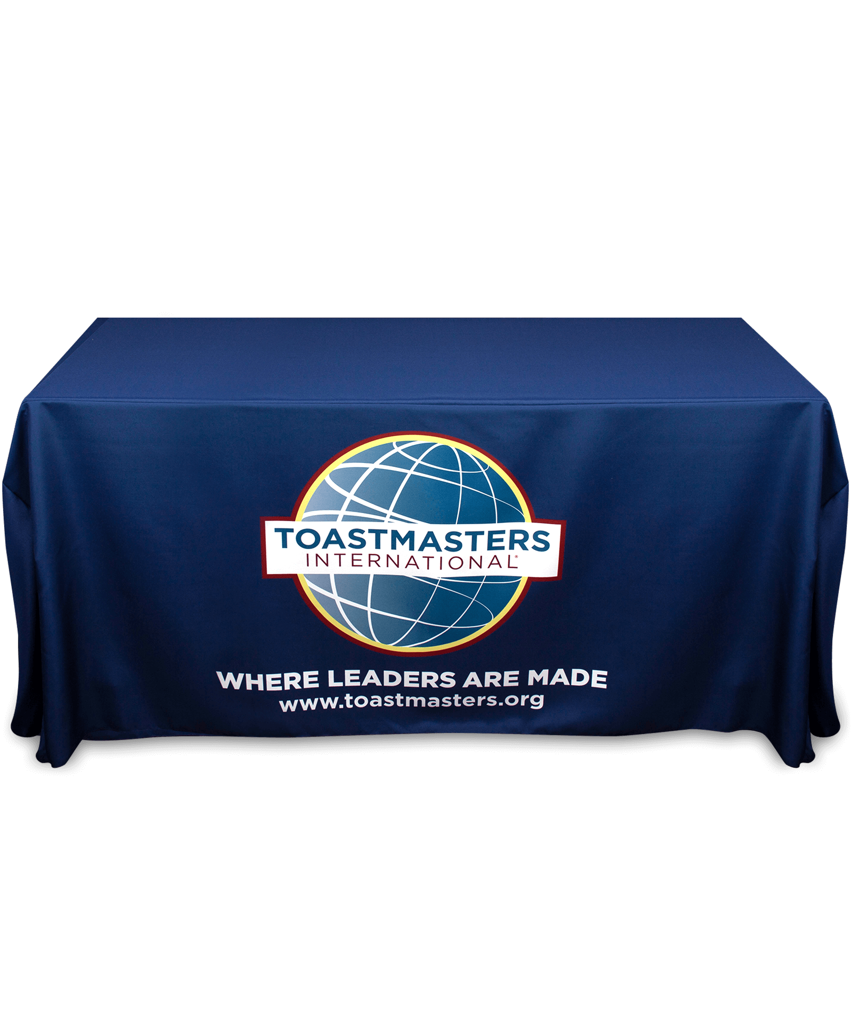 Navy tablecloth with Toastmasters full-color logo, tagline and website