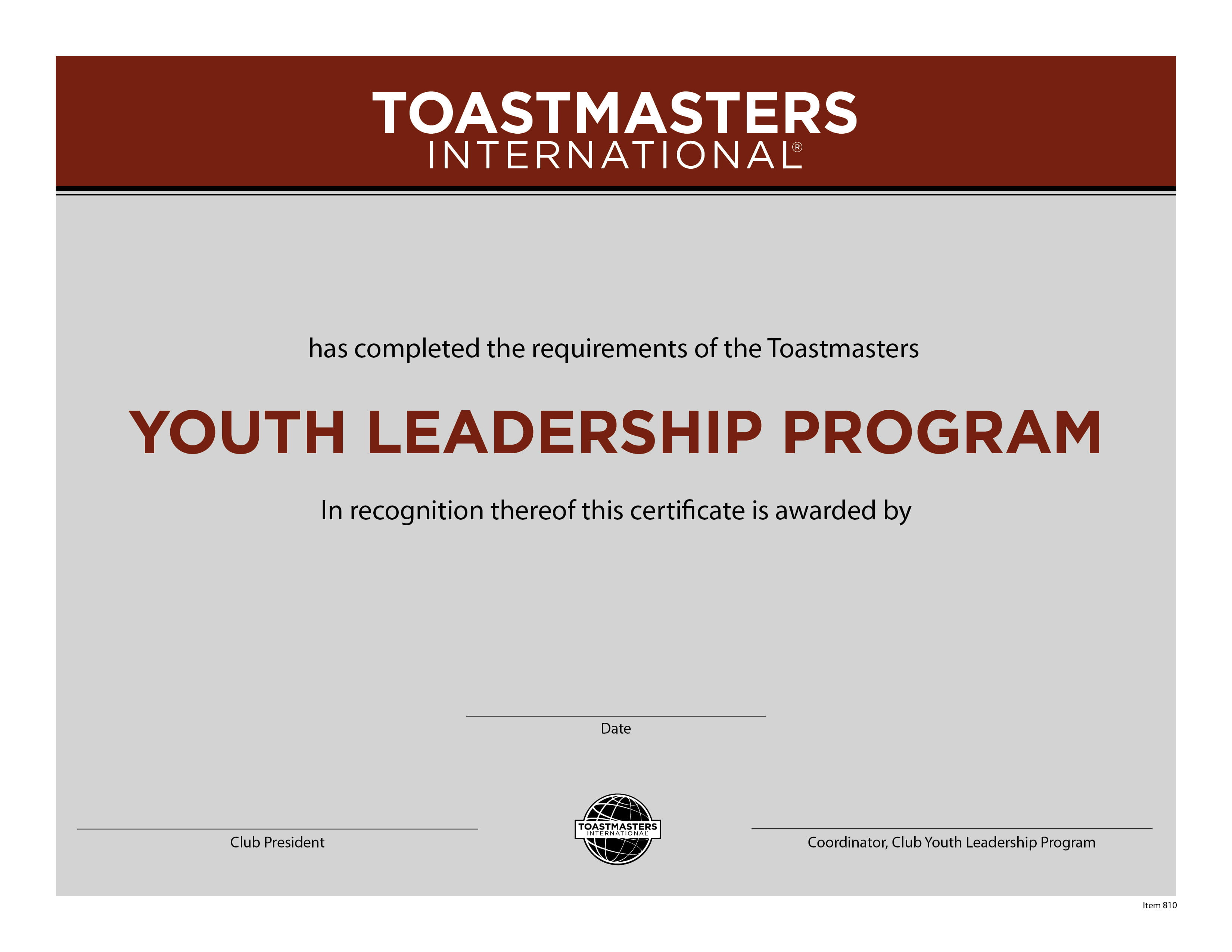 Youth Leadership Completion Certificate