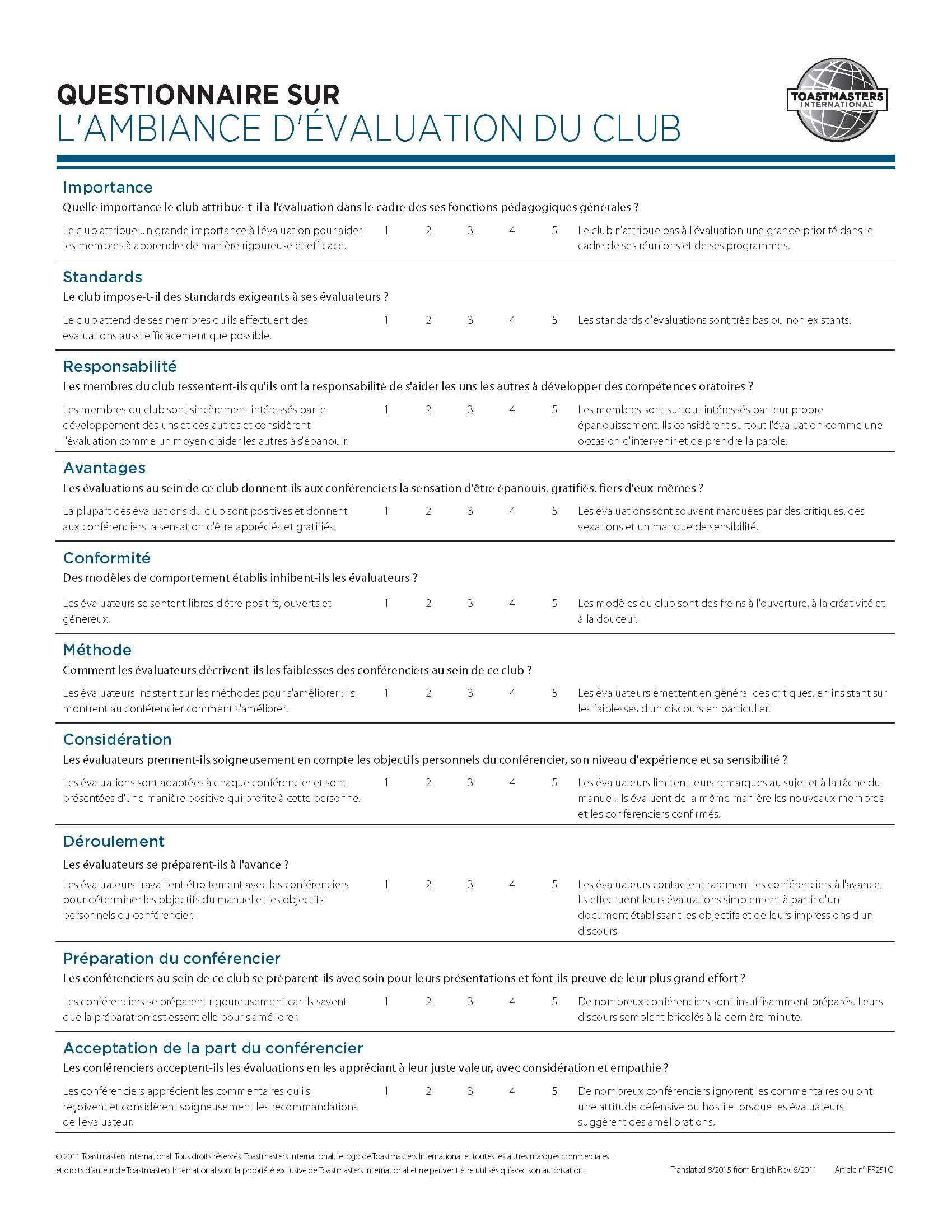 Club Climate Questionnaire (French)