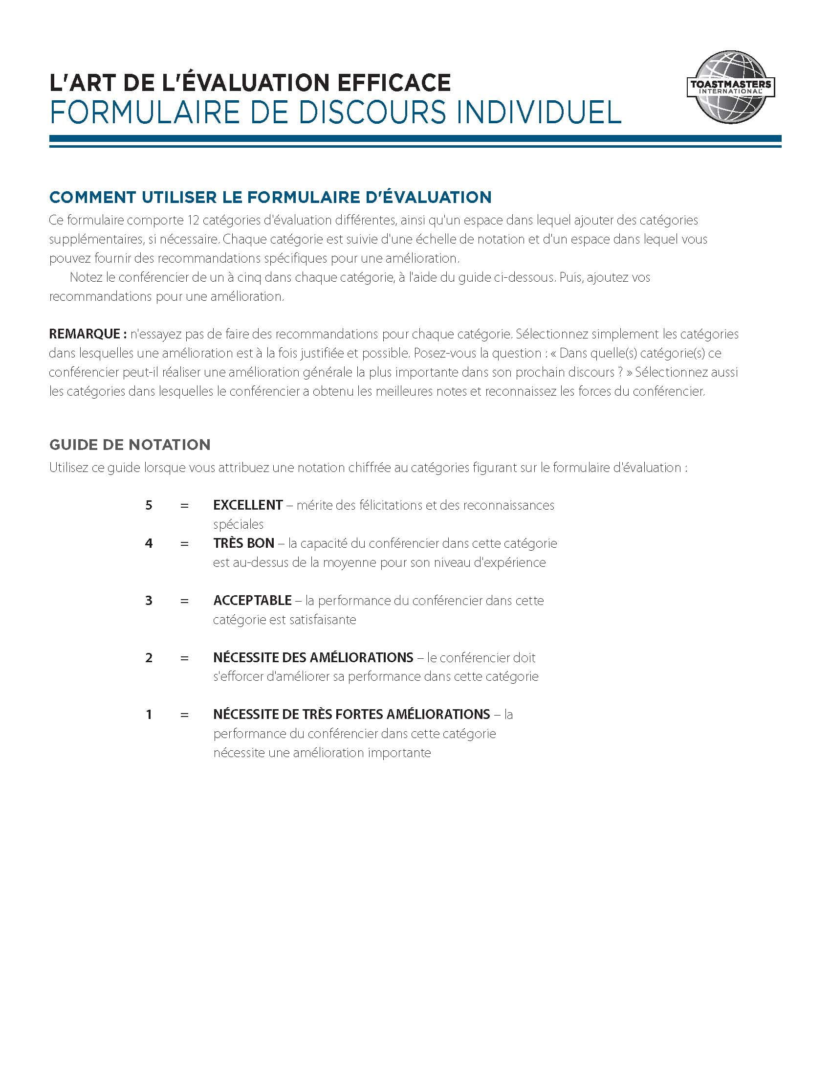 Art of Effective Evaluation Individual Speech Form (French)