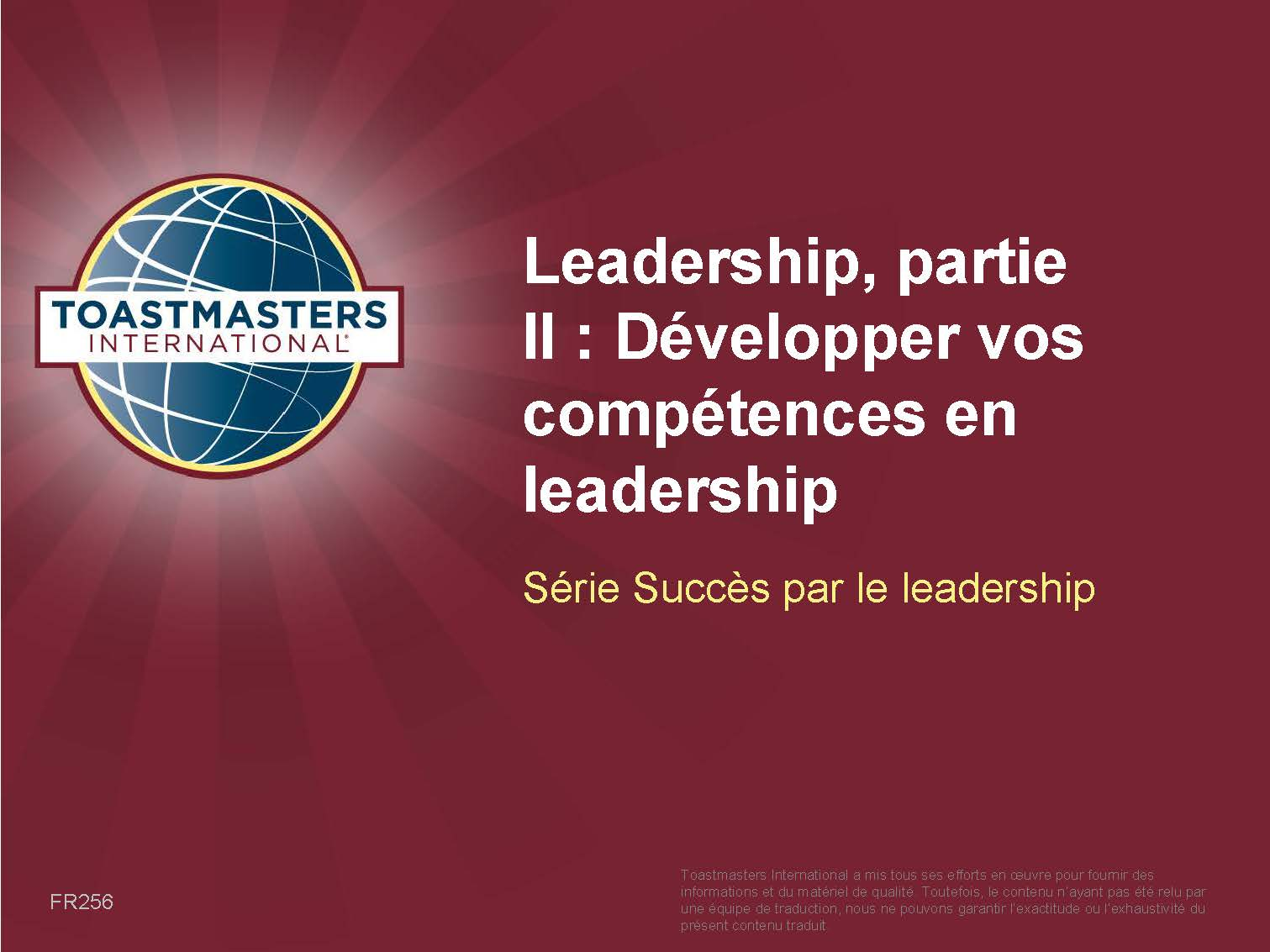 Leadership, Part II: Developing Your Leadership Skills (PPT) (French)