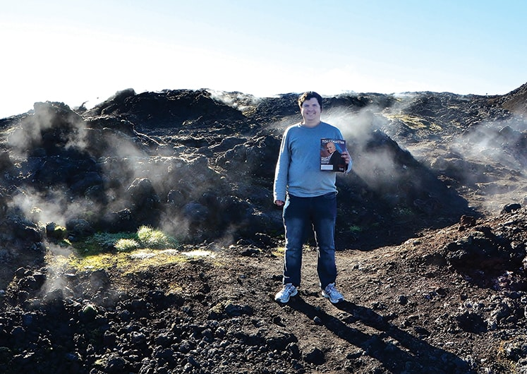 Oliver Morin-Gilbert, ACS, ALB, from Gatineau, ­Canada, stands near the steaming lava in ­Leirhnjúkur in Iceland.