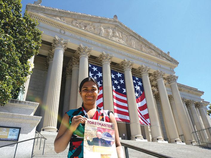 Vasini Ramakrishnan, CC, CL, from Eugene, Oregon, visits the National Archives Museum in Washington, D.C.