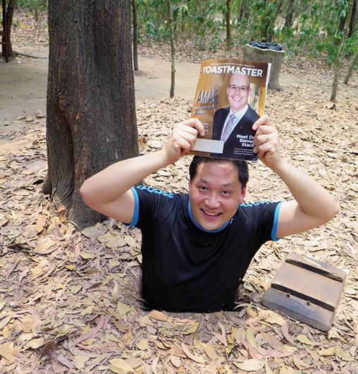 Matthew Lee, CC, ALB, from Hong Kong SAR,  China, stops halfway into the Cu Chi tunnels, Ho Chi  Minh City (Saigon), Vietnam.