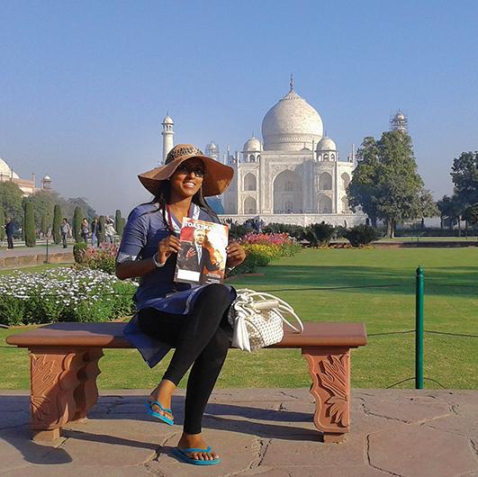 Ruwani Wimalasena, ACG, ALB, from  Sri Lanka, visits the Taj Mahal in Agra, India.