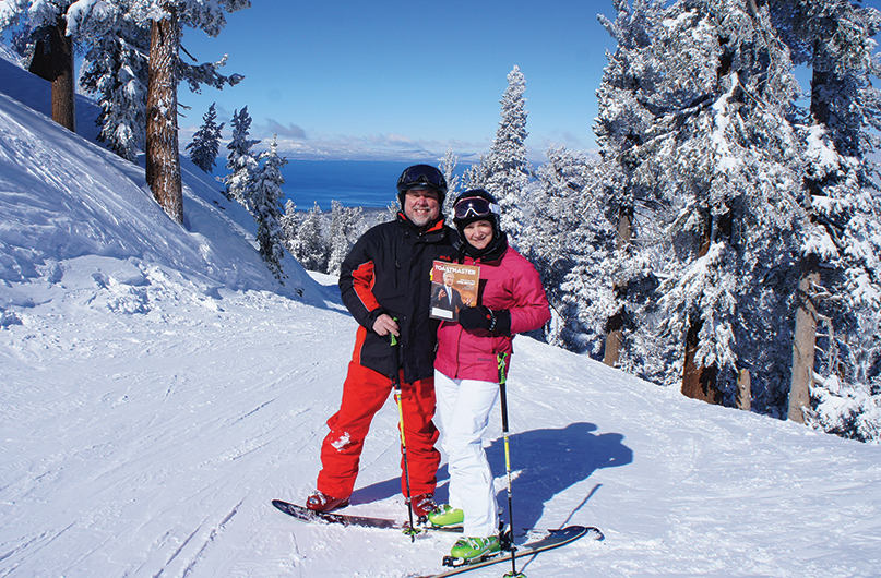 Lyn Parker and Dallas Coffman, both from Wakefield, Massachusetts, take a break from skiing 8,500 above sea level at Lake Tahoe, Nevada.